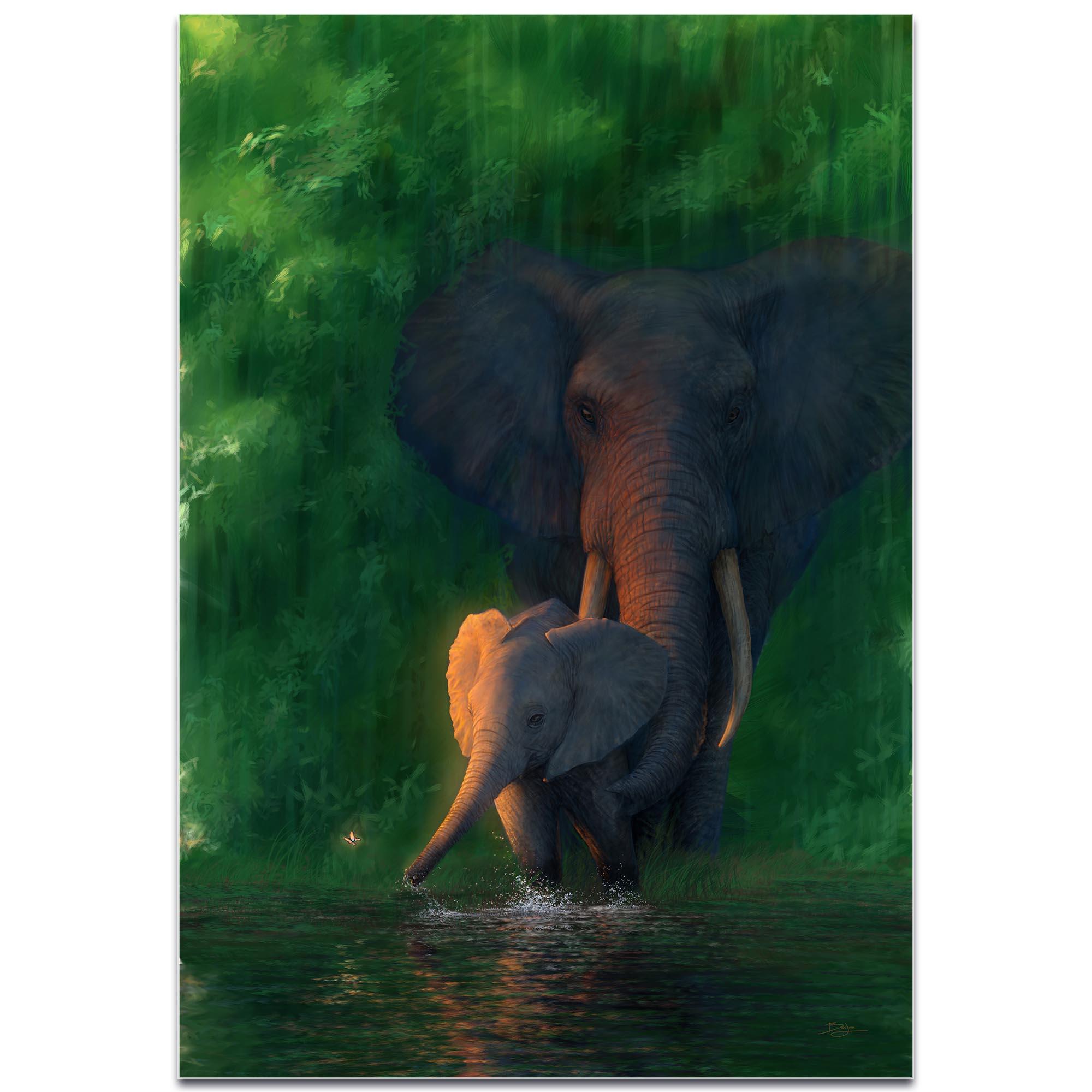Elephant Wall Art 'Carefree Calf' - African Wildlife Decor on Metal or Acrylic - Image 2