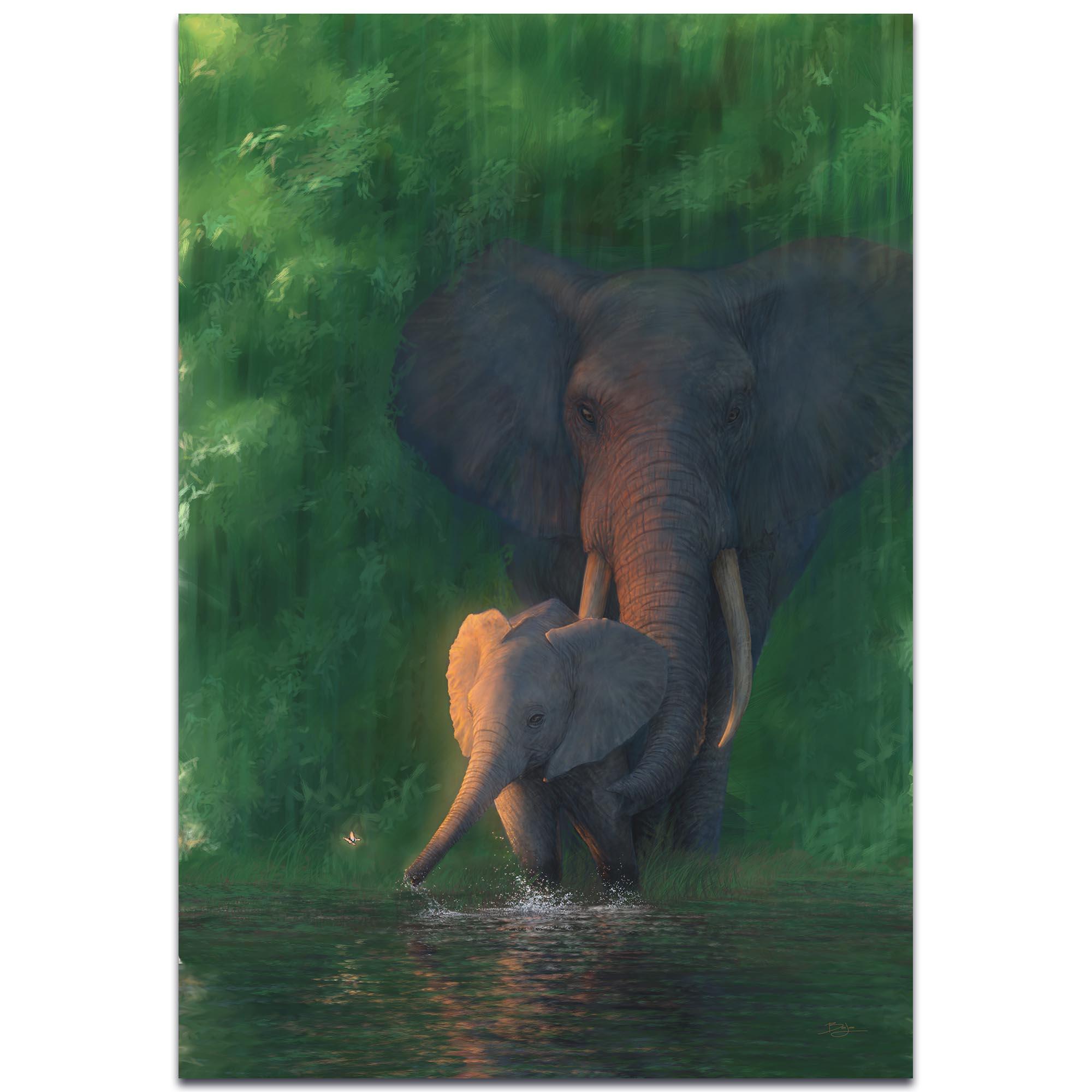 Elephant Wall Art 'Carefree Calf' - African Wildlife Decor on Metal or Acrylic