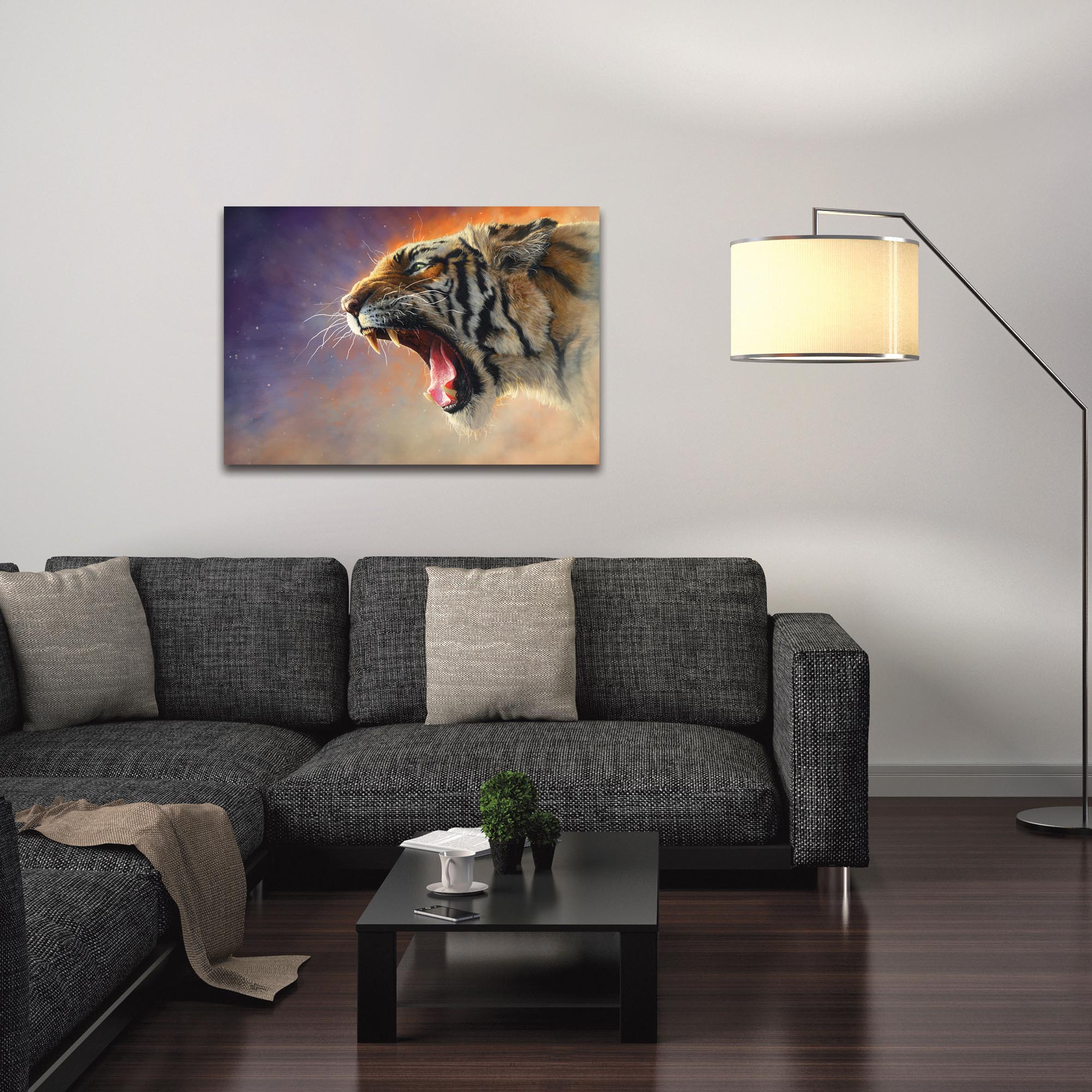 Expressionist Wall Art 'Fear Me' - Wildlife Decor on Metal or Plexiglass - Lifestyle View