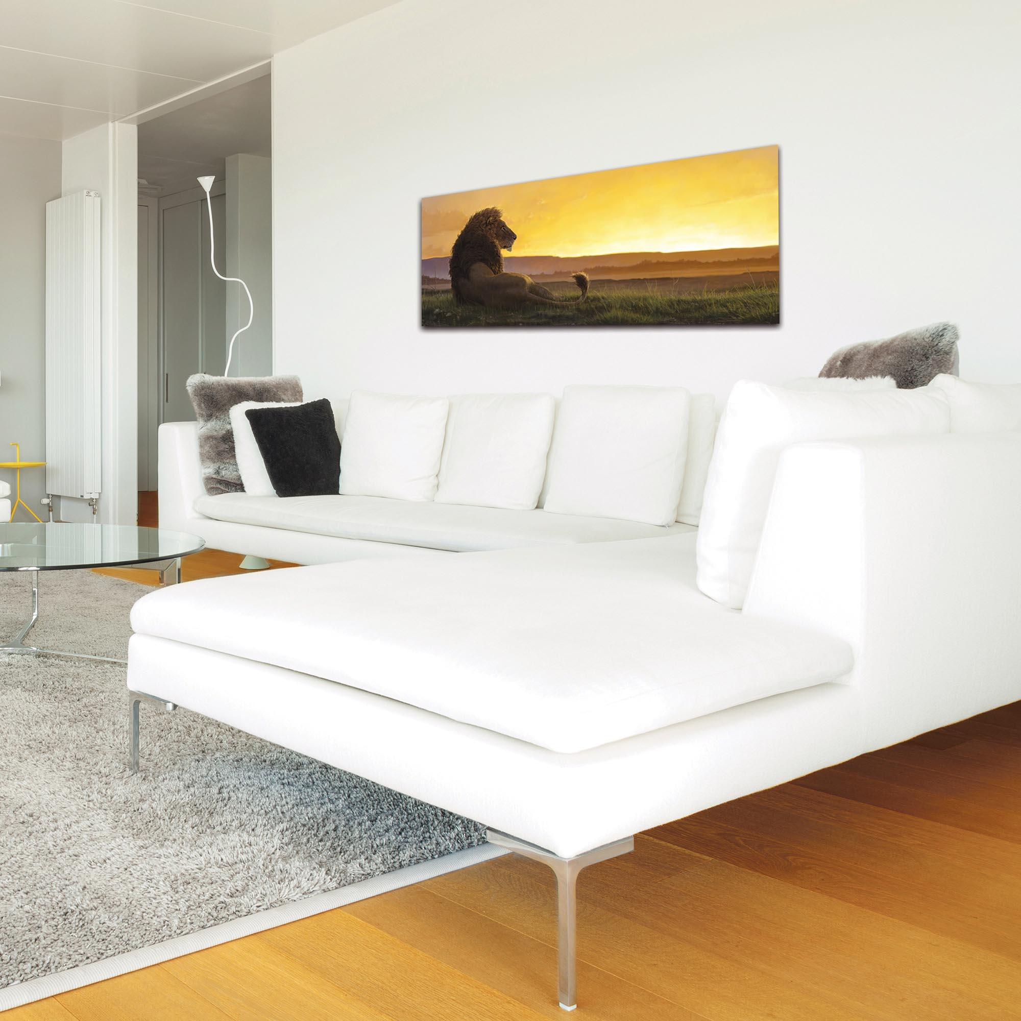 Expressionist Wall Art 'Lion in the Sun' - Wildlife Decor on Metal or Plexiglass - Lifestyle View