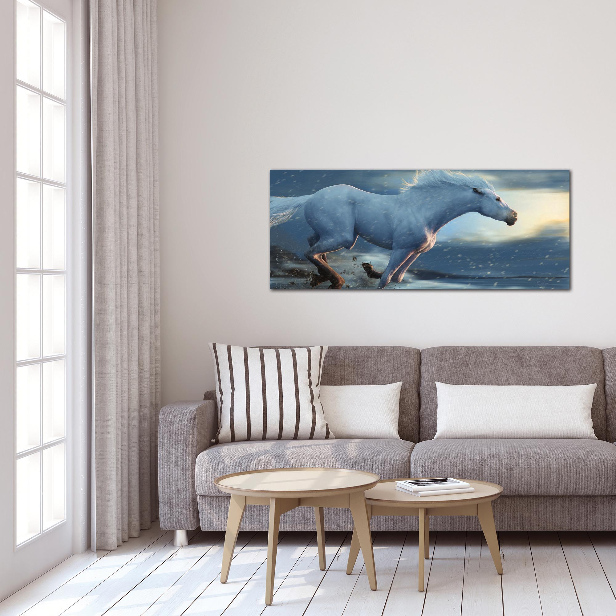 Expressionist Wall Art 'Running Horse' - Wildlife Decor on Metal or Plexiglass - Lifestyle View
