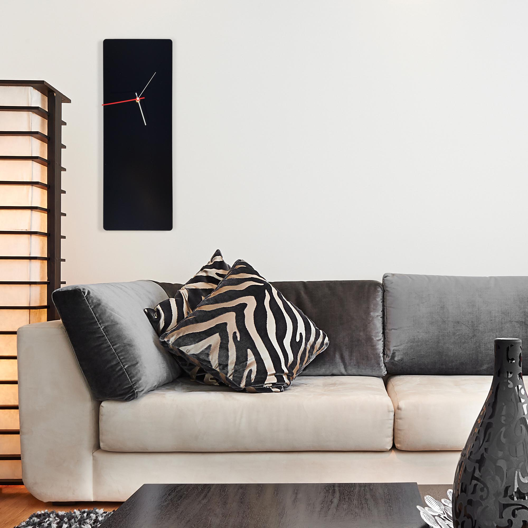 Metal Art Studio Minimalistic Decor Black Mod Clock Large 8.25in x 22in - Lifestyle View