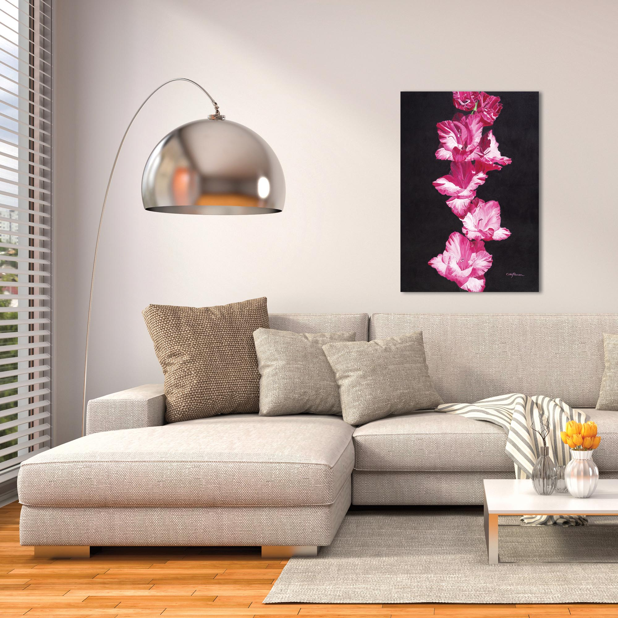 Traditional Wall Art 'Bright Pink Glads' - Floral Decor on Metal or Plexiglass - Lifestyle View