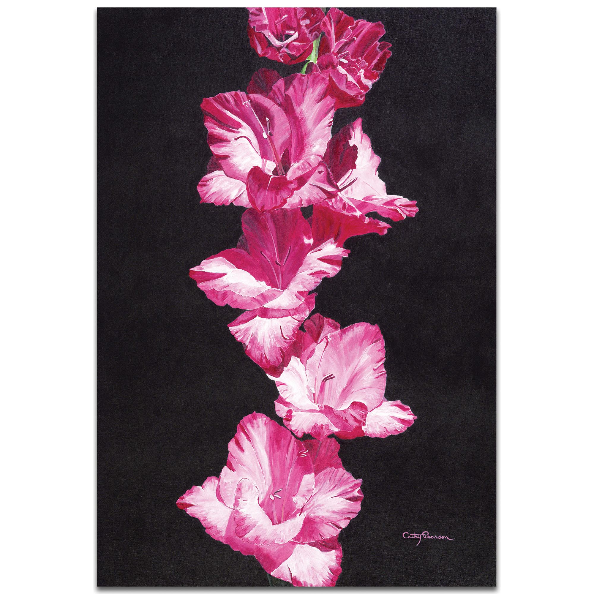 Traditional Wall Art 'Bright Pink Glads' - Floral Decor on Metal or Plexiglass