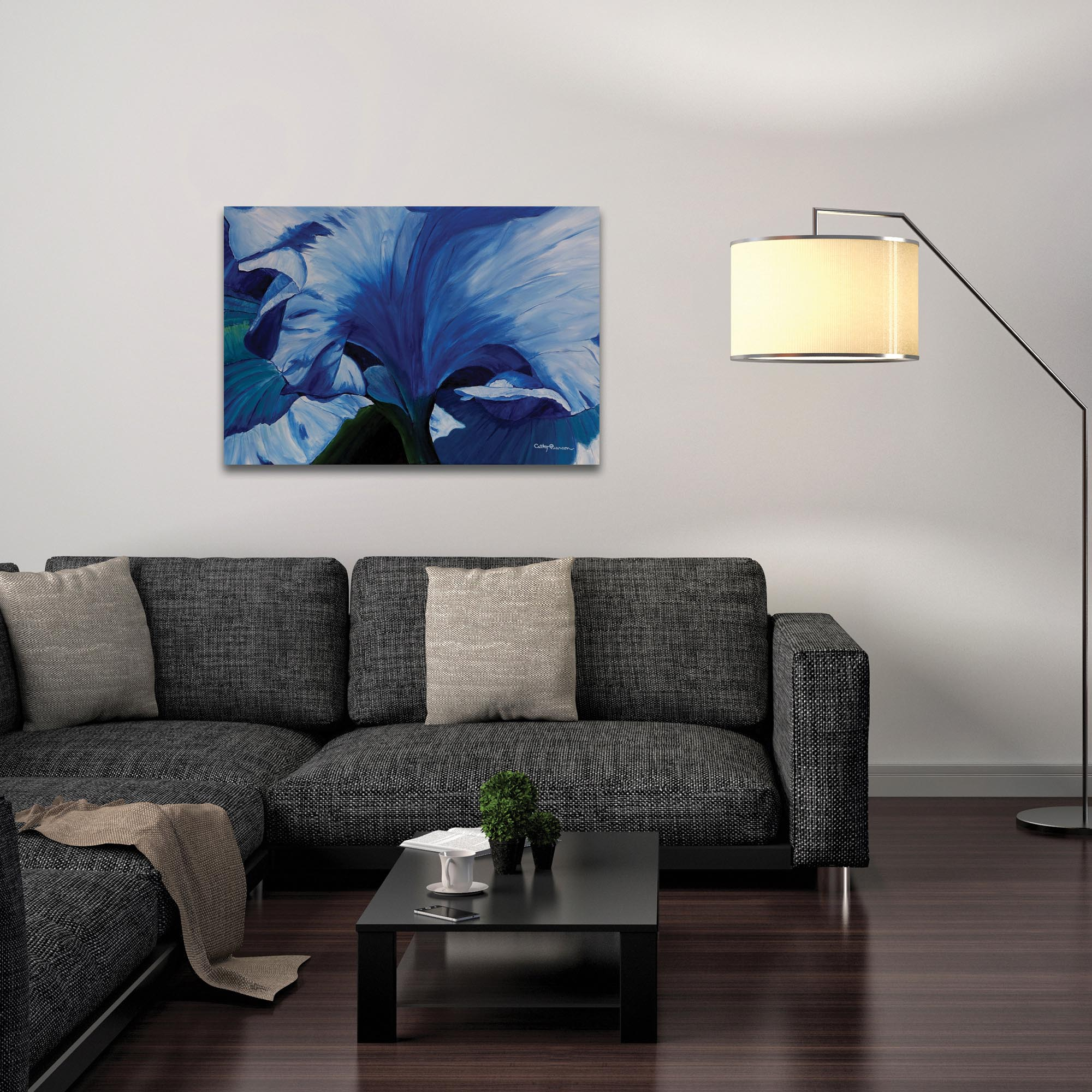 Traditional Wall Art 'Heart of a Blue Iris' - Floral Decor on Metal or Plexiglass - Lifestyle View