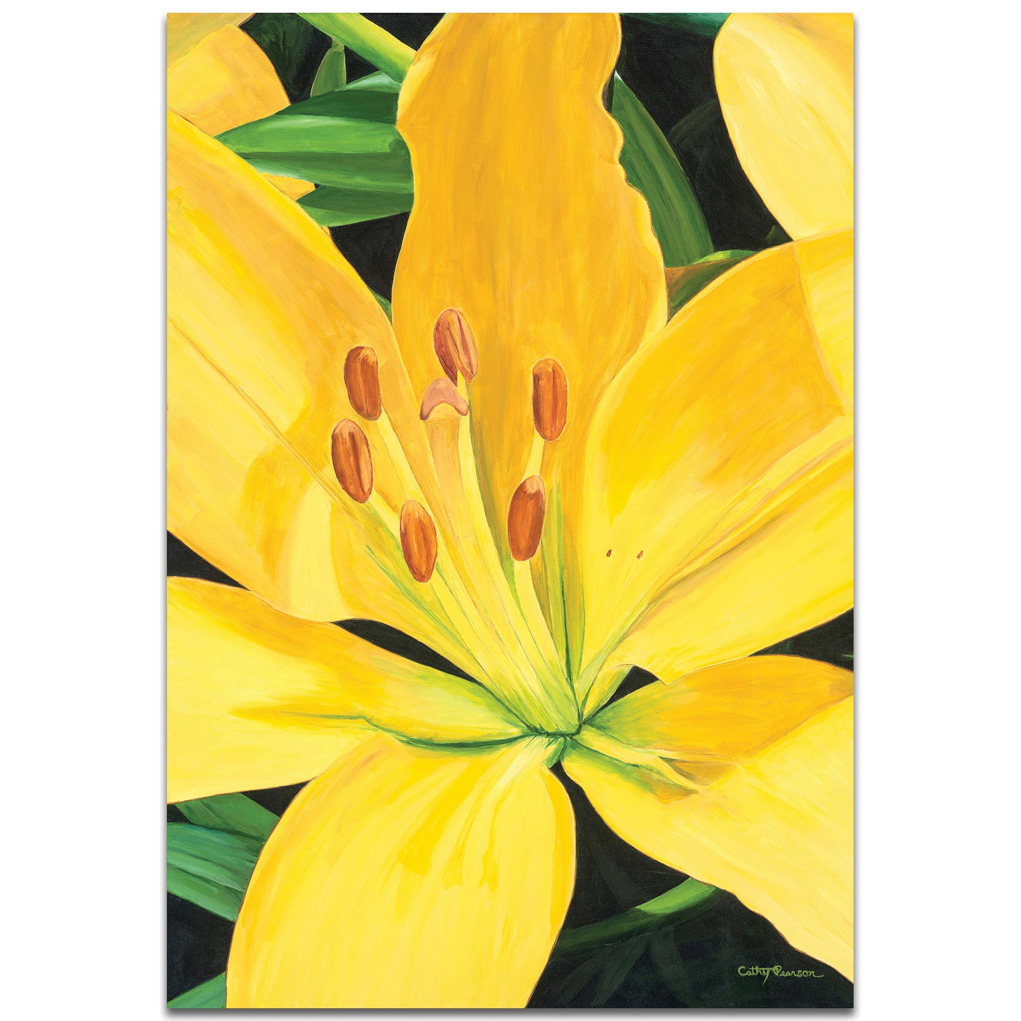 Traditional Wall Art 'Heart of a Yellow Lily' - Floral Decor on Metal or Plexiglass