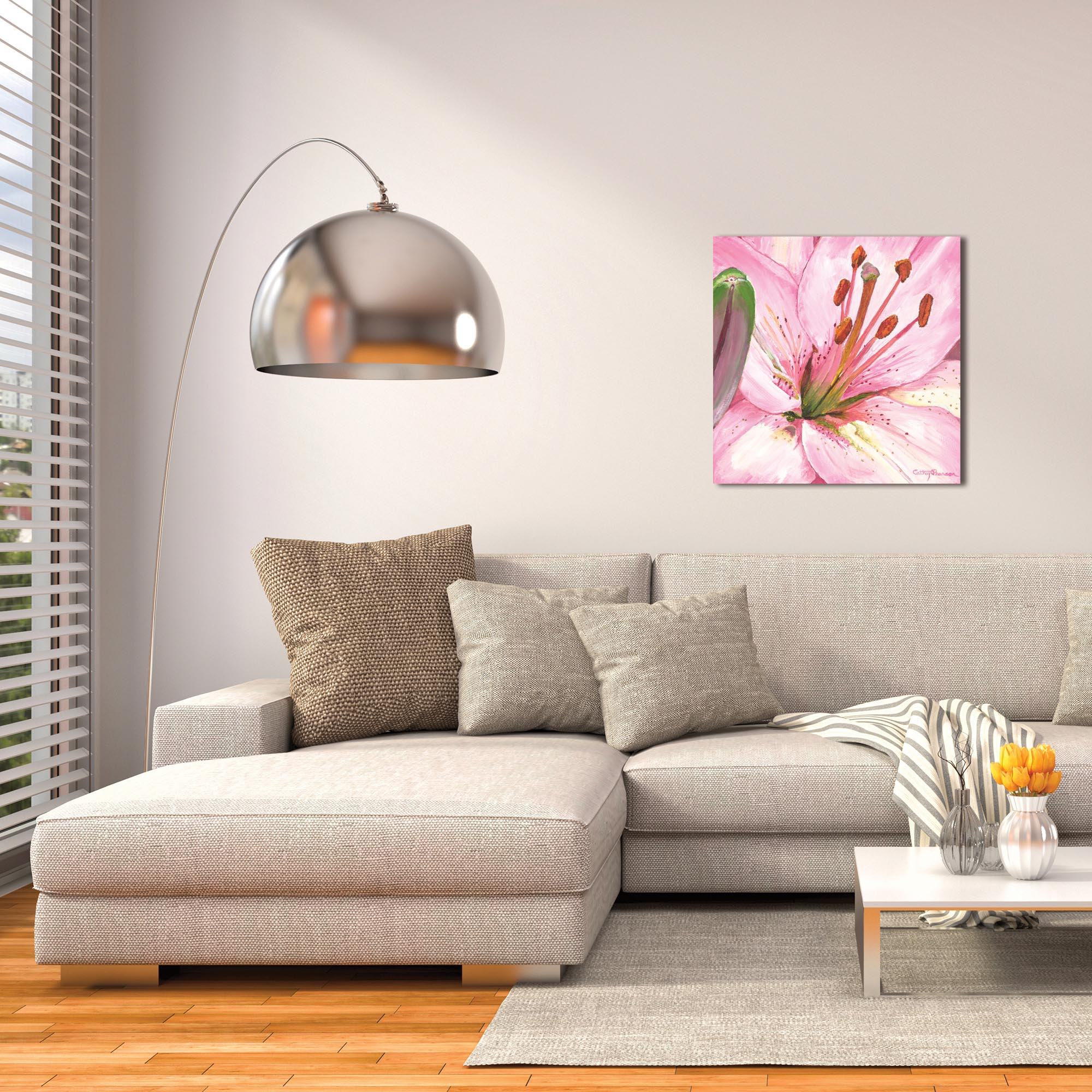 Traditional Wall Art 'Heart of a Pink Lily' - Floral Decor on Metal or Plexiglass - Lifestyle View