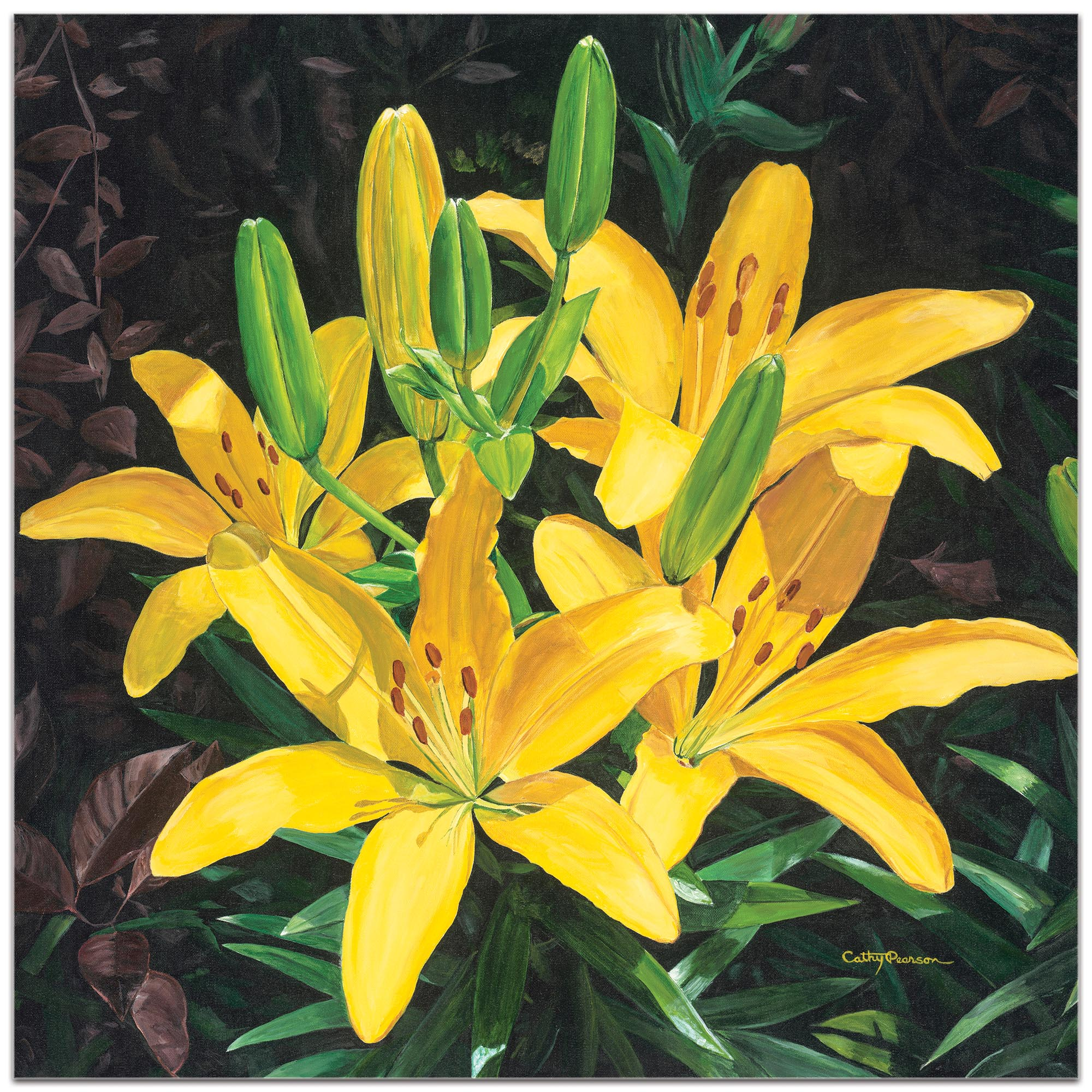 Traditional Wall Art 'Yellow Lilies' - Floral Decor on Metal or Plexiglass - Image 2