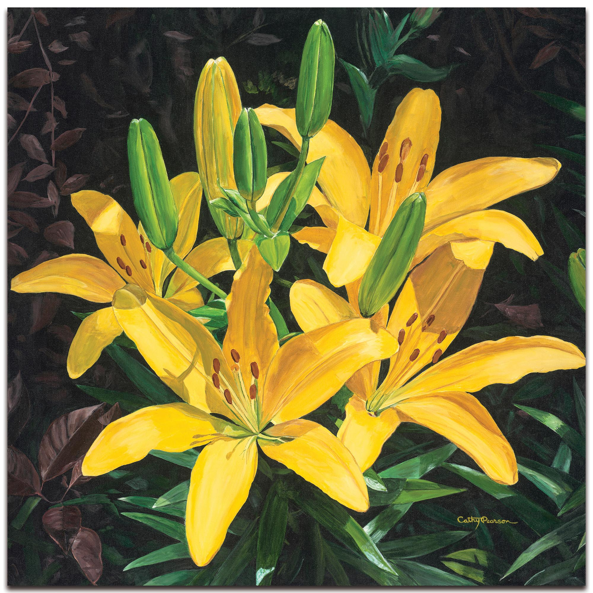 Traditional Wall Art 'Yellow Lilies' - Floral Decor on Metal or Plexiglass