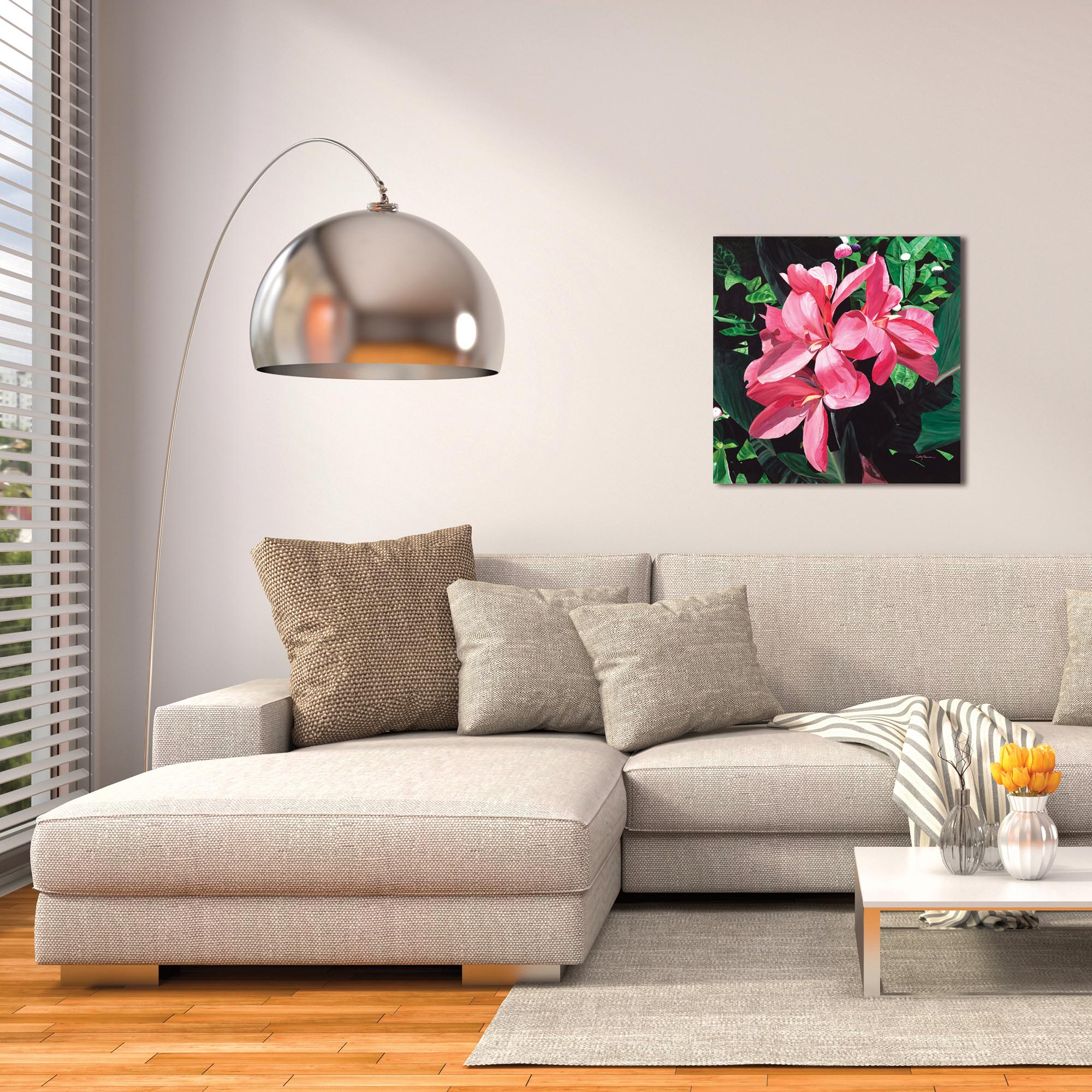 Traditional Wall Art 'Exotic Lilies' - Floral Decor on Metal or Plexiglass - Lifestyle View