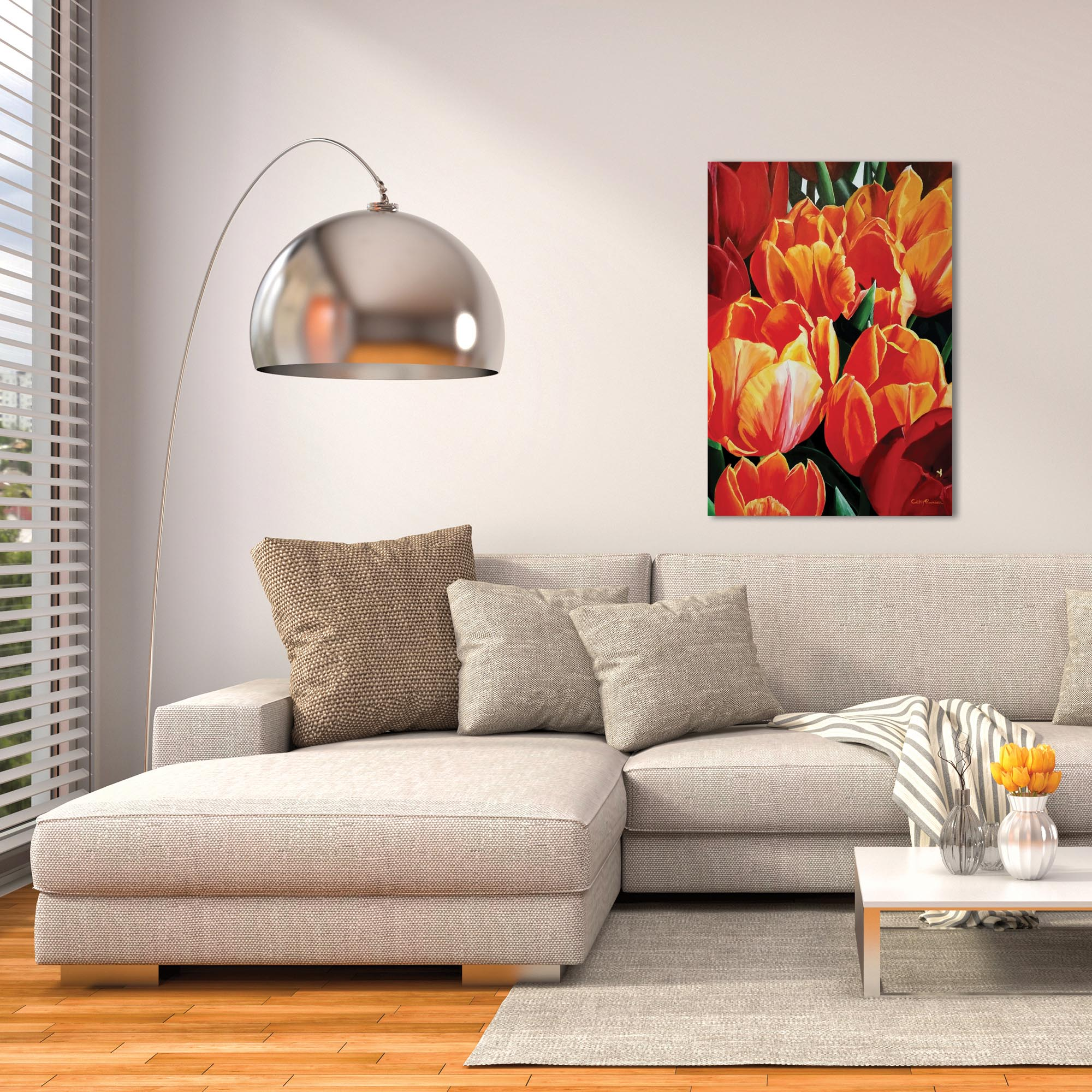 Traditional Wall Art 'Tulip Bonanza' - Floral Decor on Metal or Plexiglass - Lifestyle View