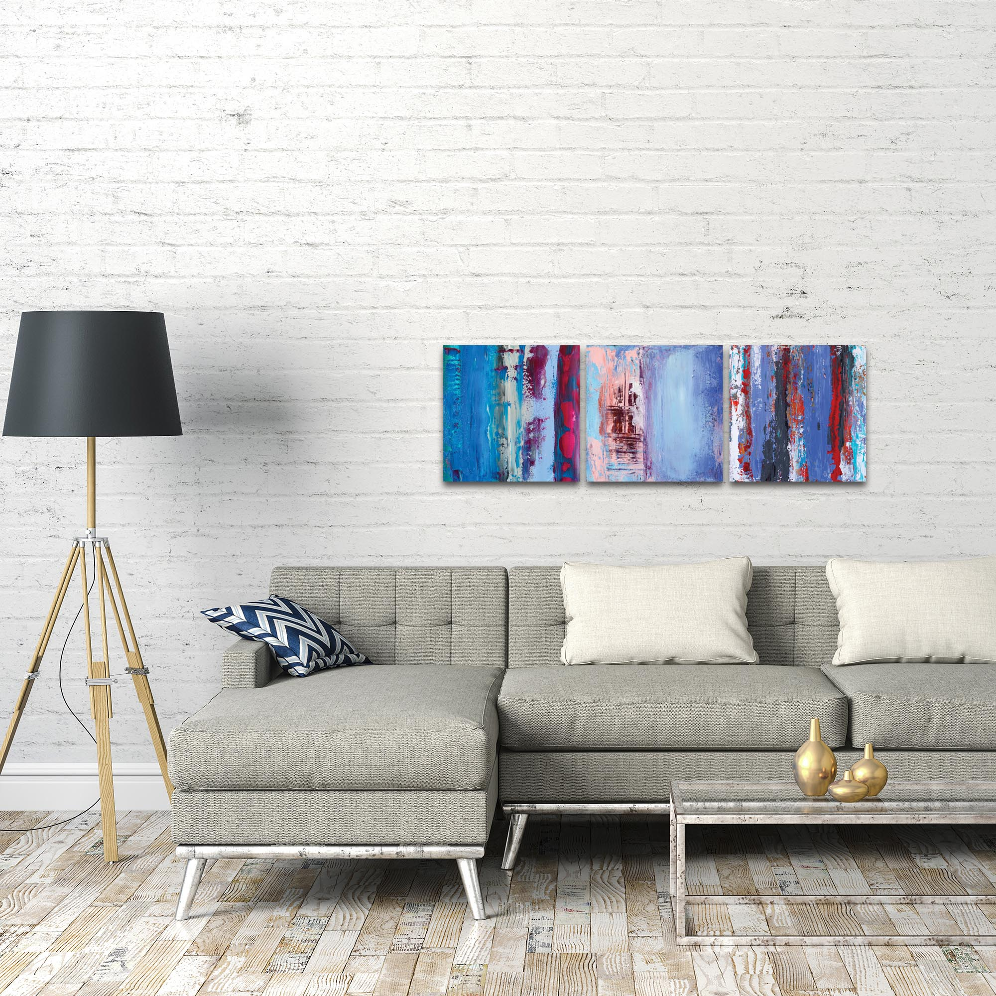Abstract Wall Art 'Urban Triptych 1' - Urban Decor on Metal or Plexiglass - Lifestyle View