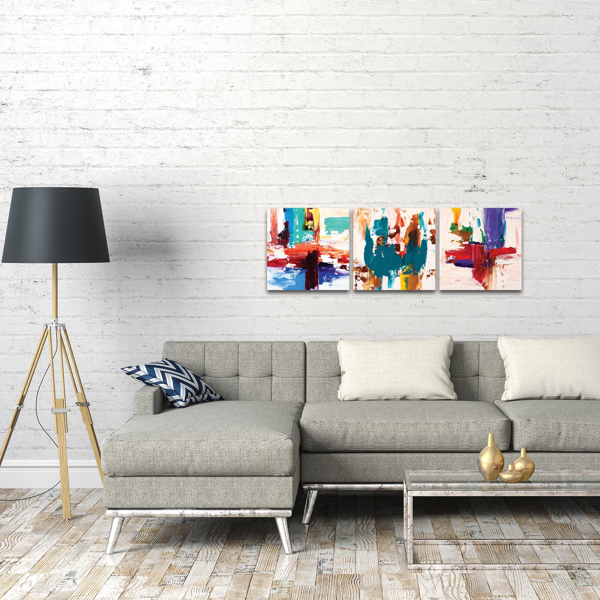 Abstract Wall Art 'Urban Triptych 2' - Urban Decor on Metal or Plexiglass - Lifestyle View