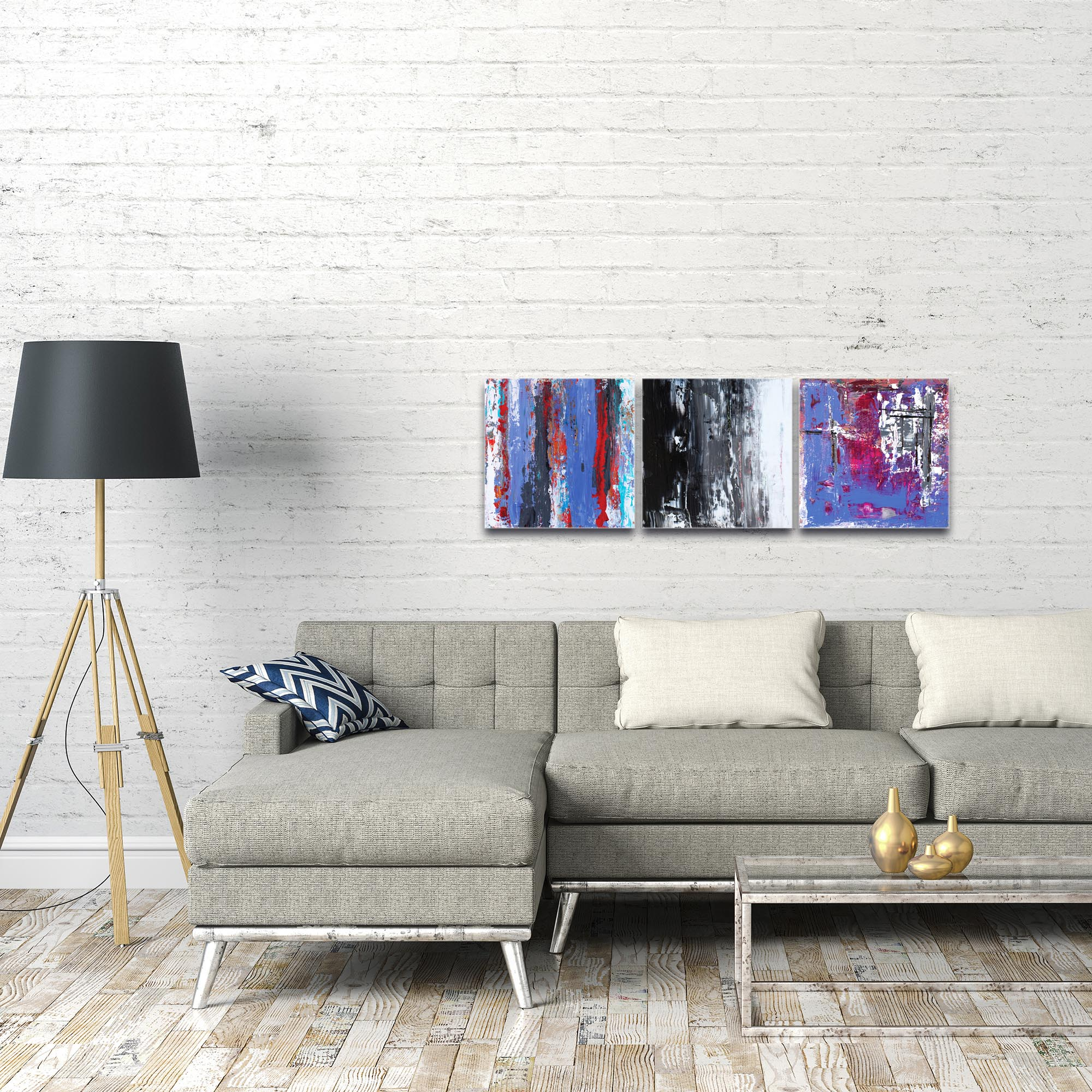 Abstract Wall Art 'Urban Triptych 4' - Urban Decor on Metal or Plexiglass - Image 3