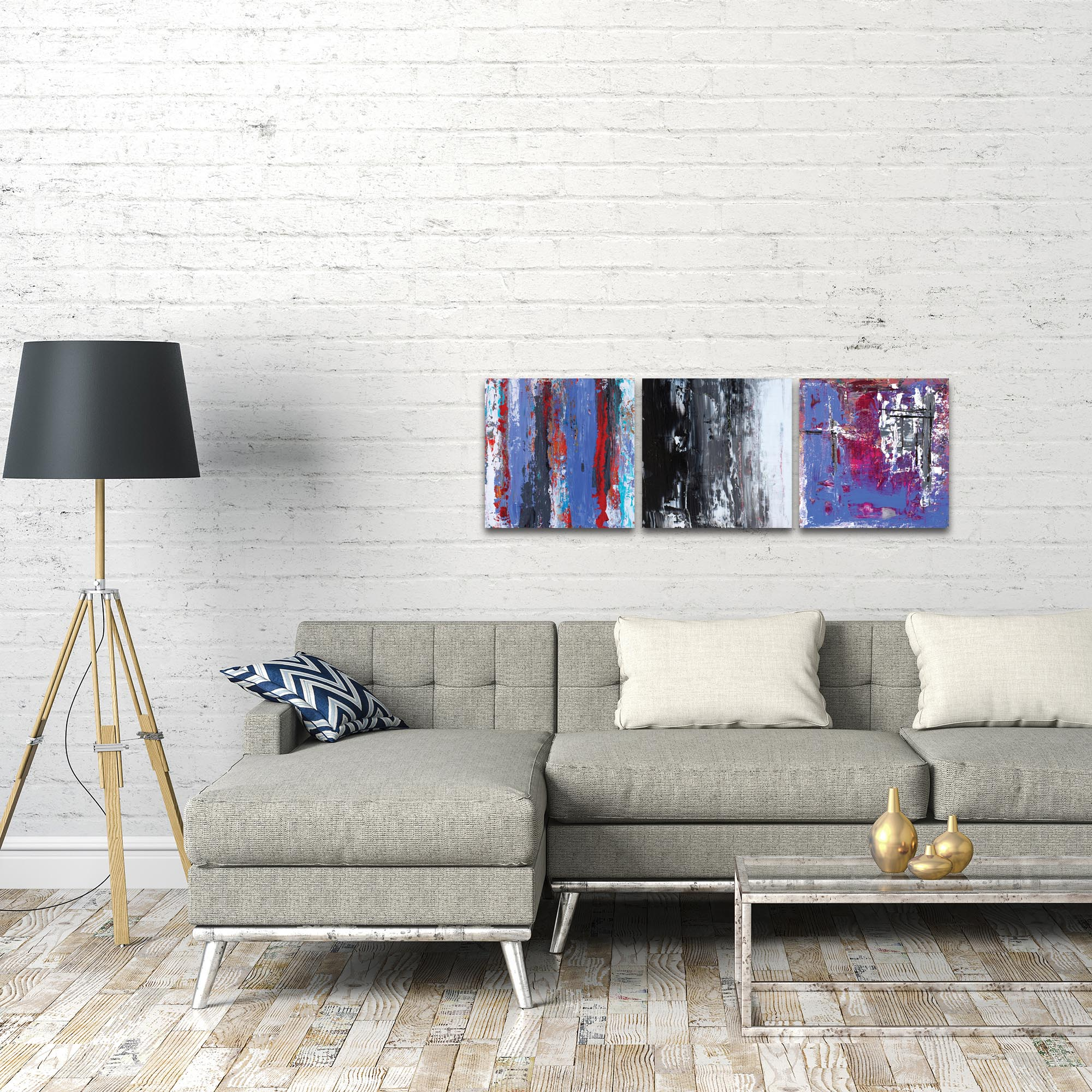 Abstract Wall Art 'Urban Triptych 4' - Urban Decor on Metal or Plexiglass - Lifestyle View