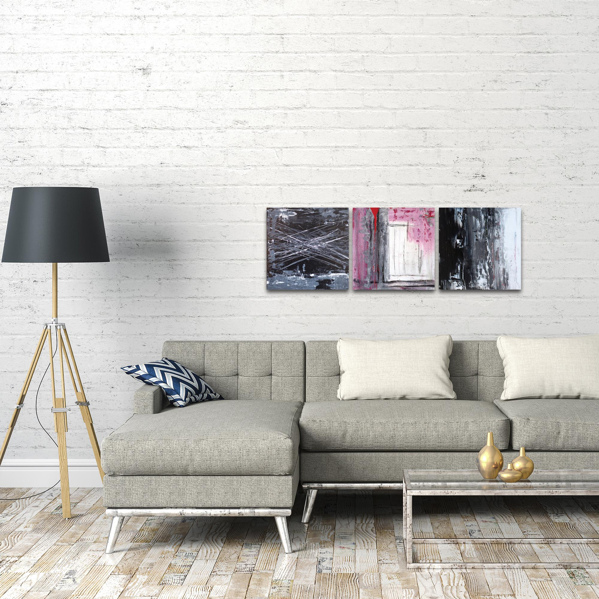 Abstract Wall Art 'Urban Triptych 6' - Urban Decor on Metal or Plexiglass - Lifestyle View