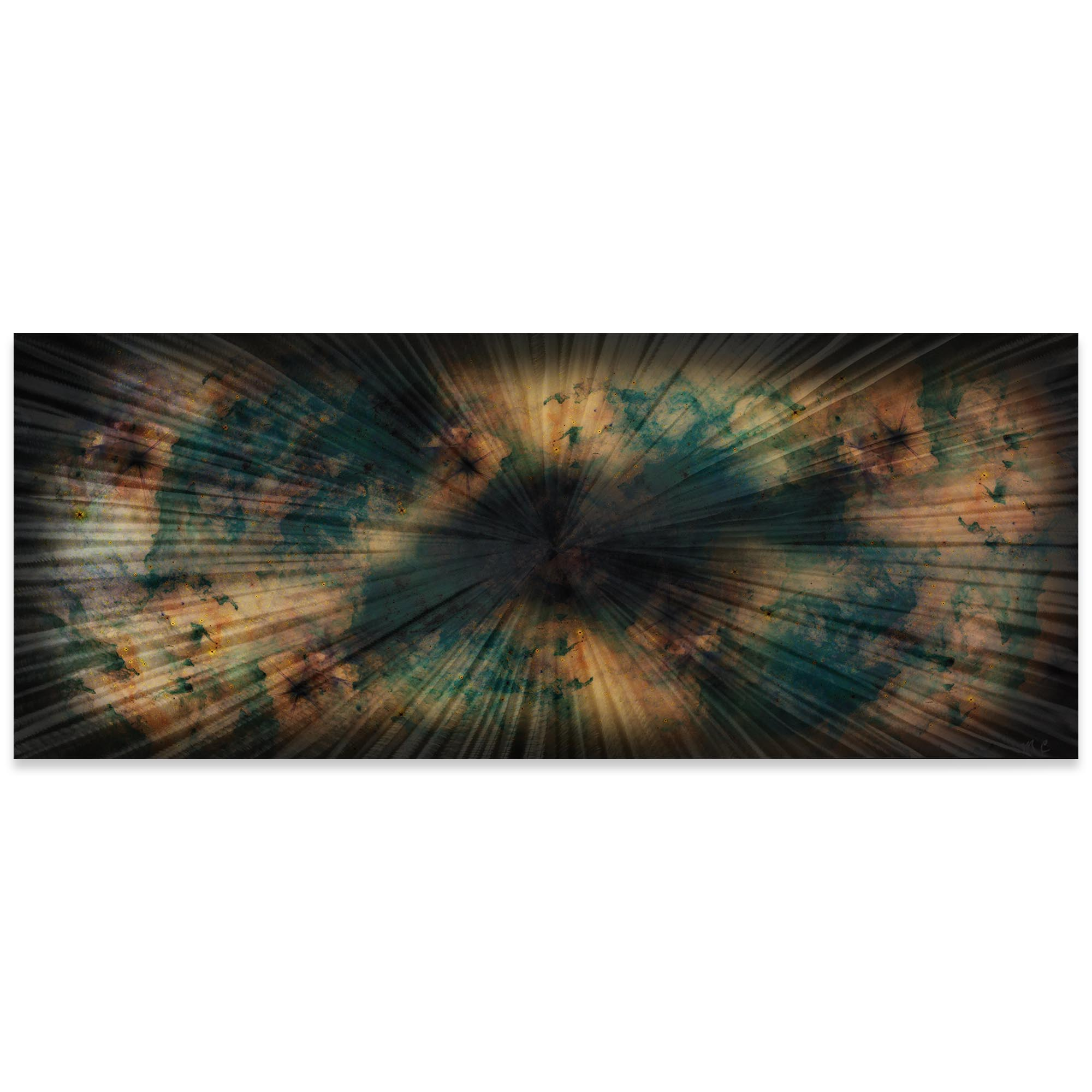 Helena Martin 'Organic Nebula' 60in x 24in Original Abstract Art on Ground and Colored Metal
