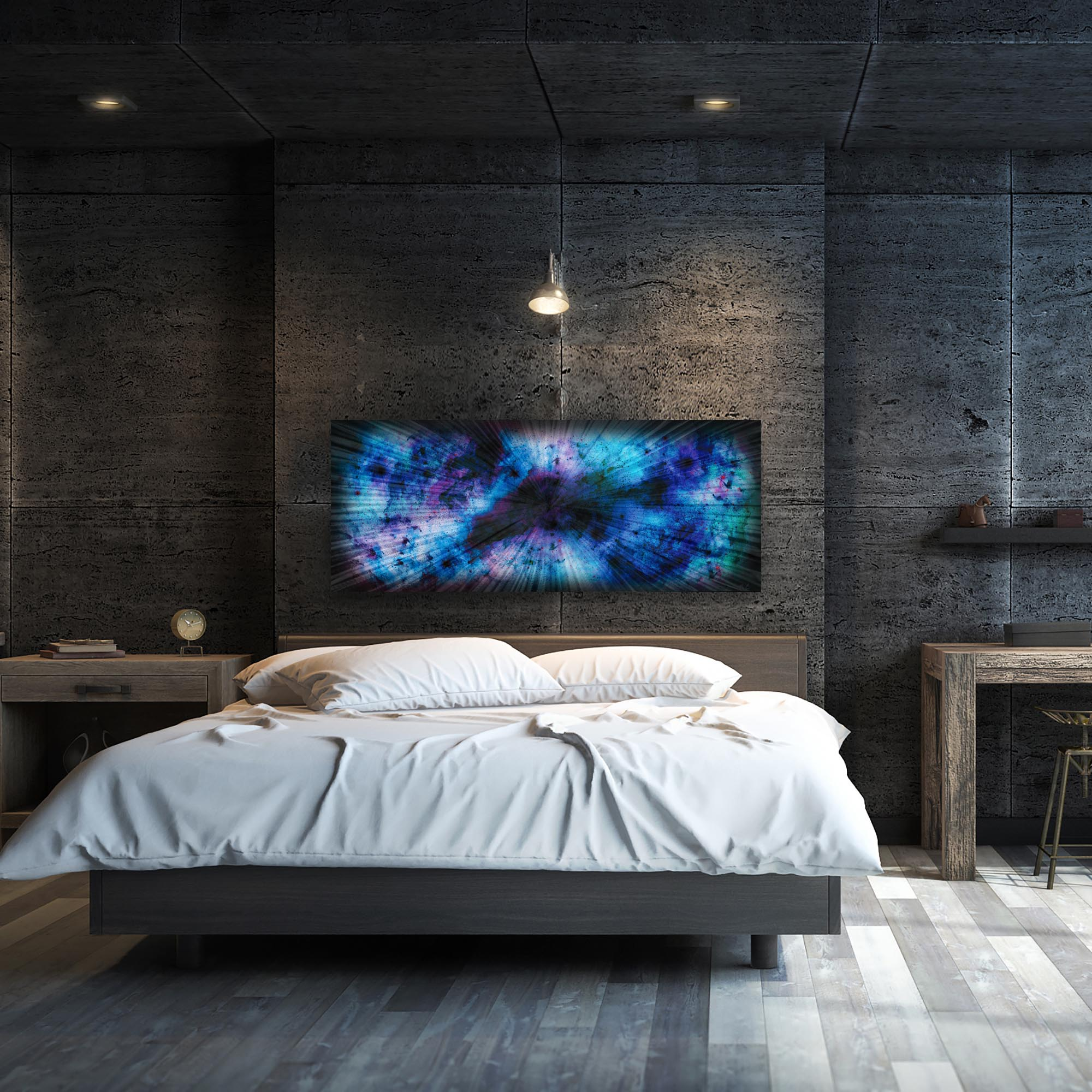 Blue Nebula by Helena Martin - Original Abstract Art on Ground and Colored Metal - Lifestyle View