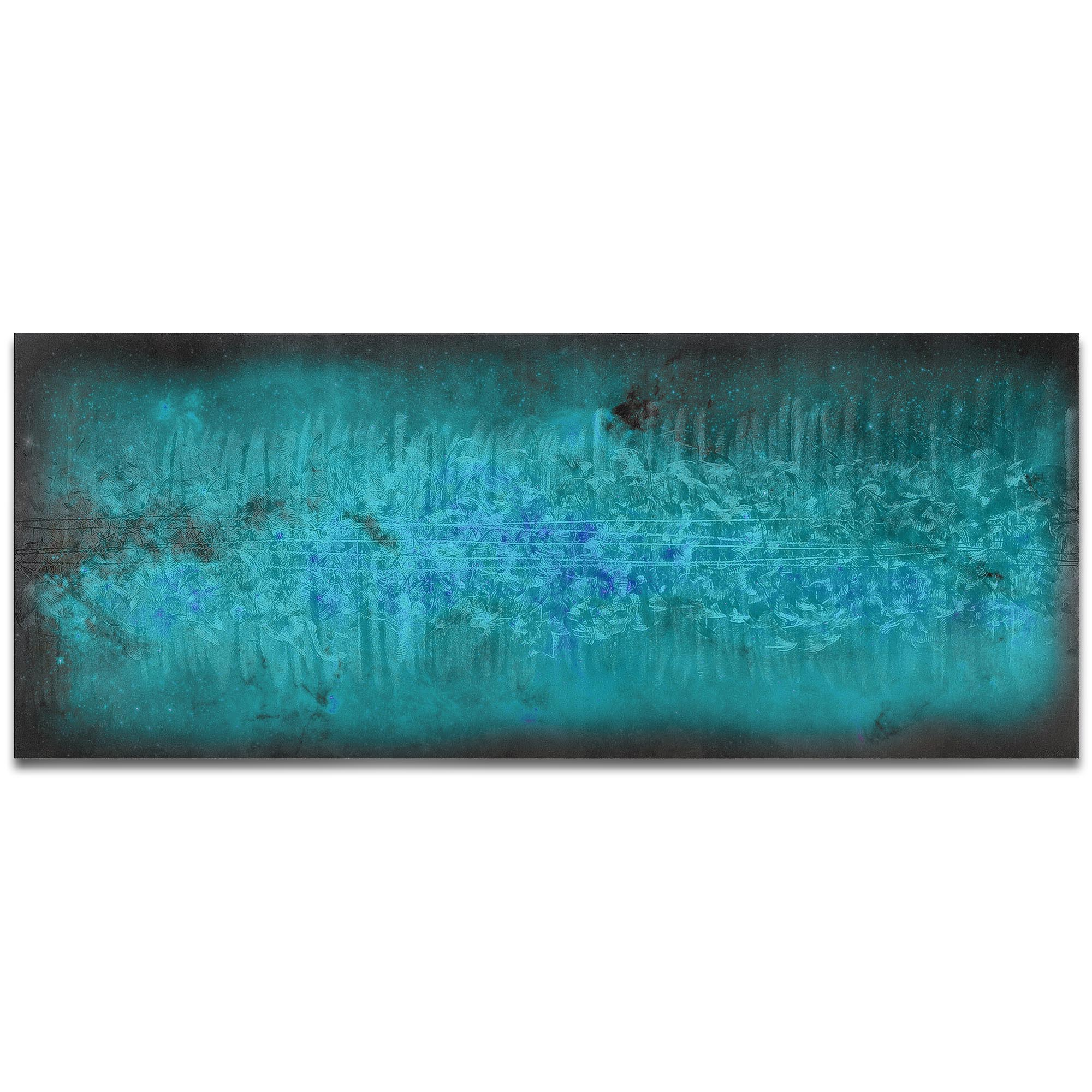 Helena Martin 'Milky Way Static' 60in x 24in Original Abstract Art on Ground and Colored Metal