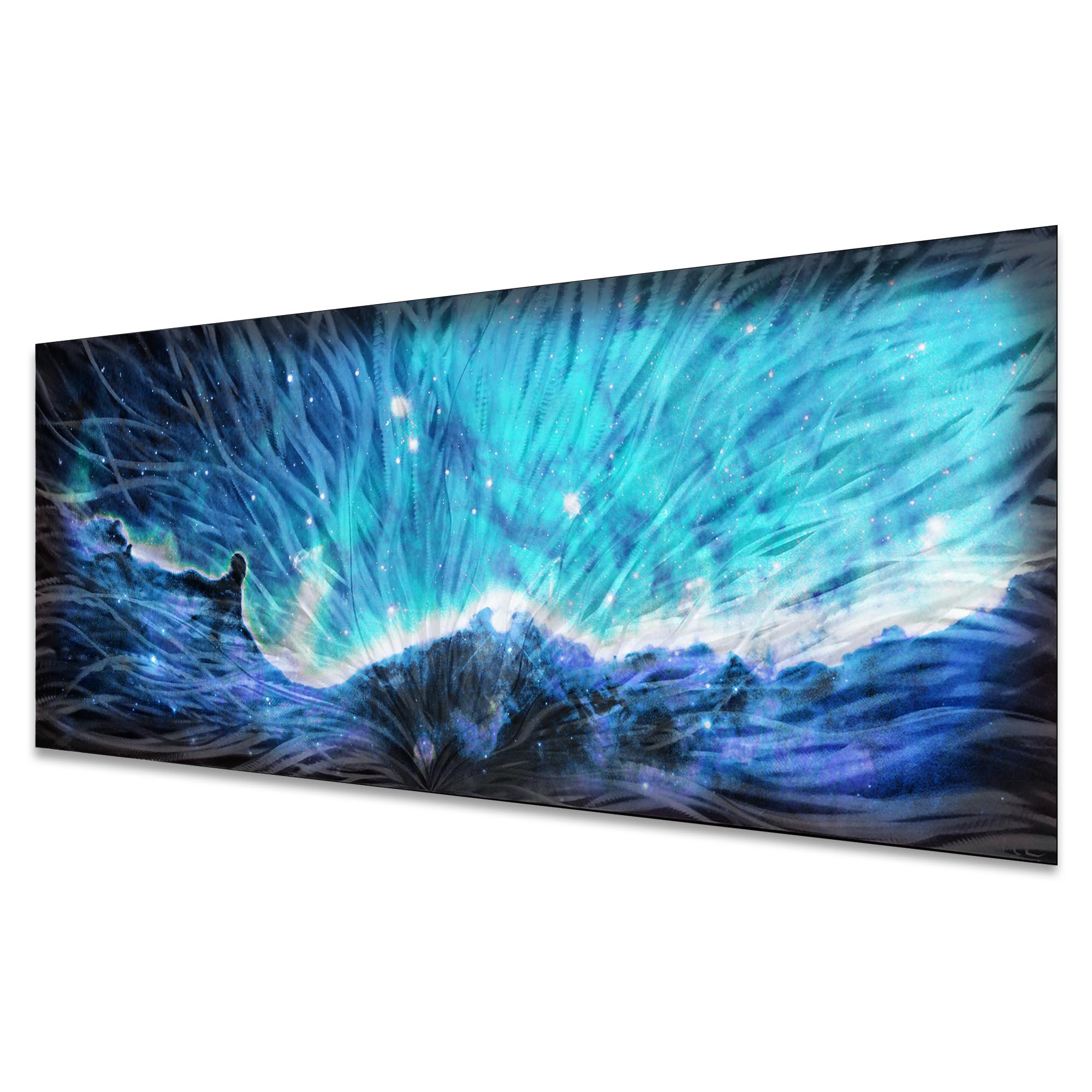 Celestial Landscape Blue by Helena Martin - Original Abstract Art on Ground and Colored Metal - Image 2