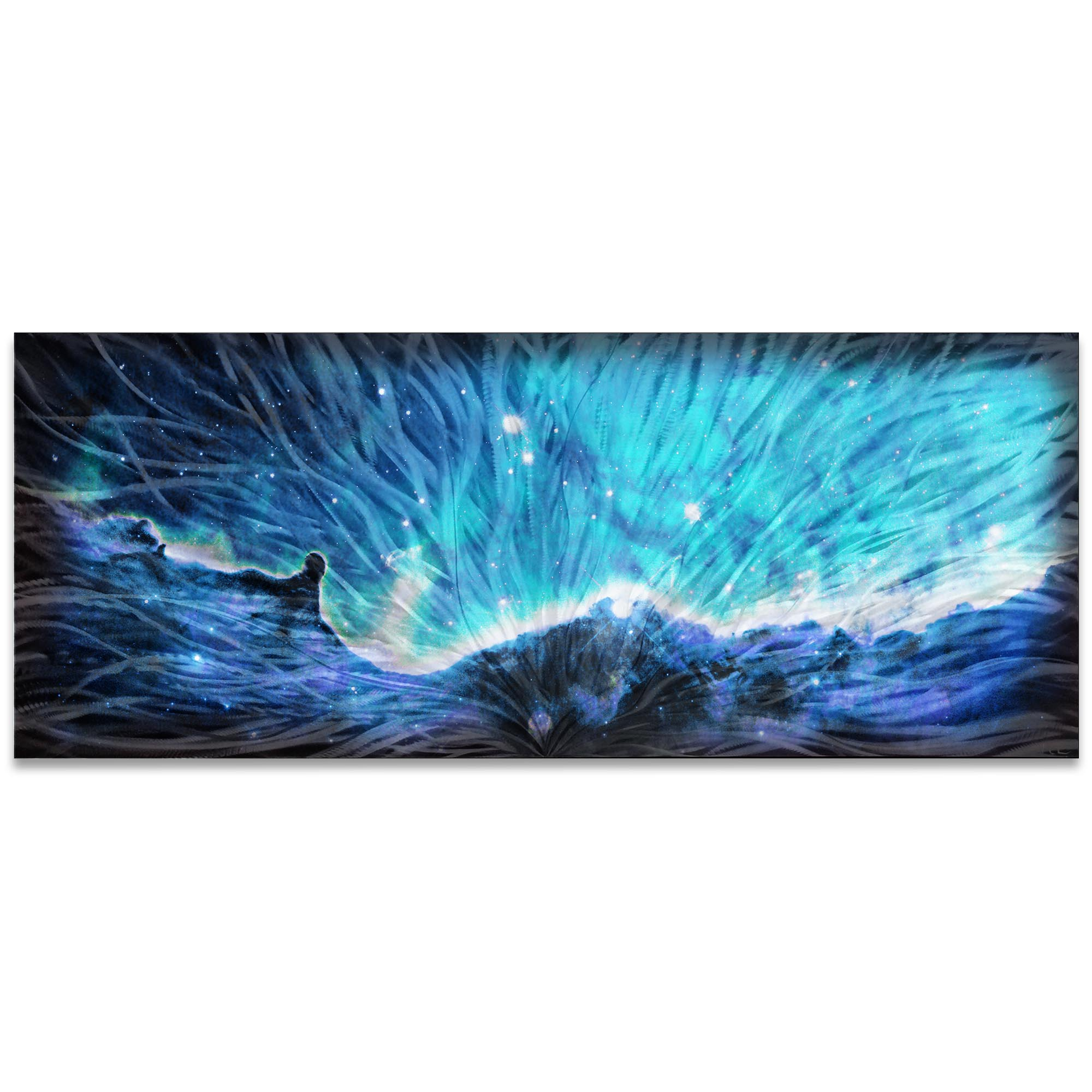 Helena Martin 'Celestial Landscape Blue' 60in x 24in Original Abstract Art on Ground and Colored Metal
