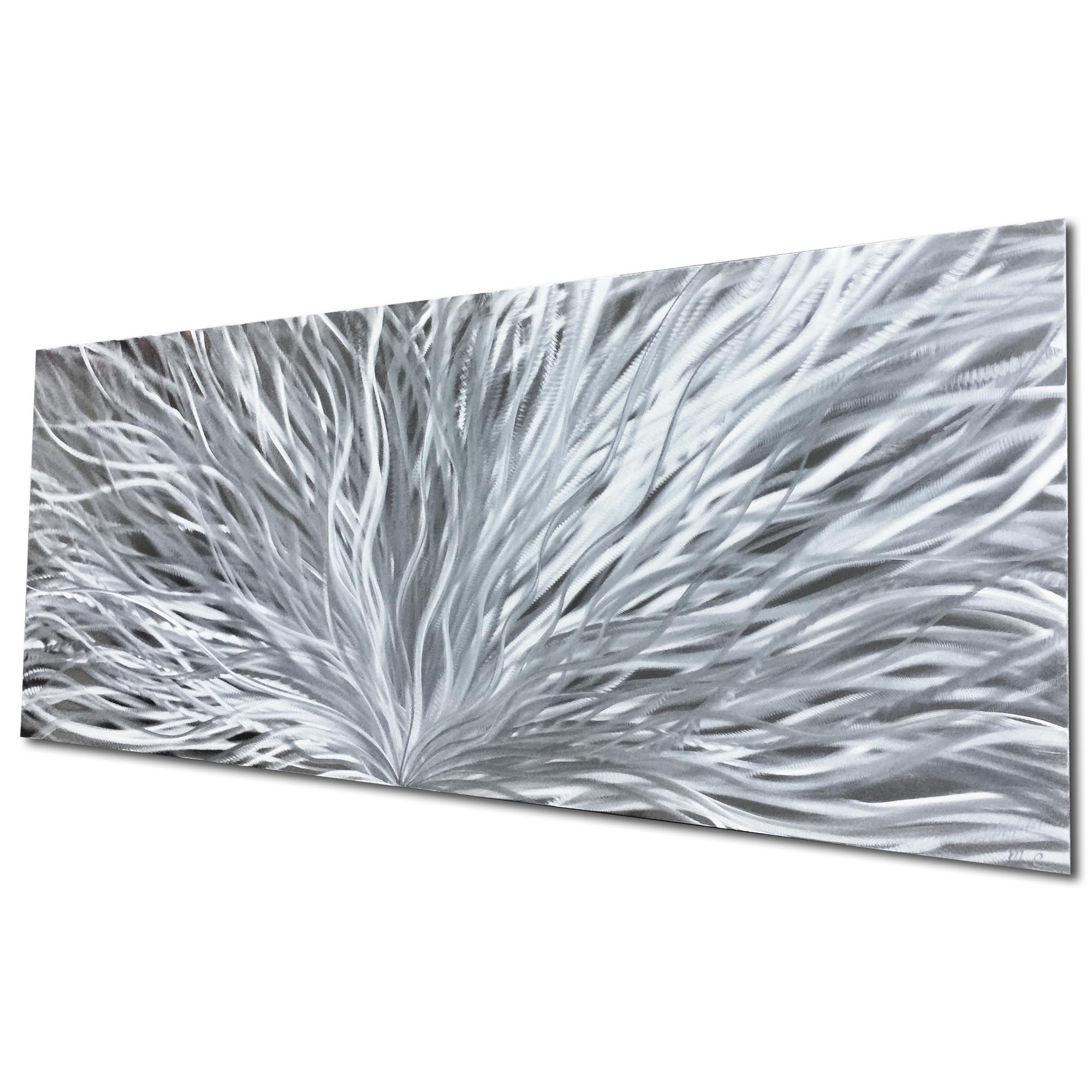 Blooming Silver by Helena Martin - Original Abstract Art on Ground Metal - Image 3