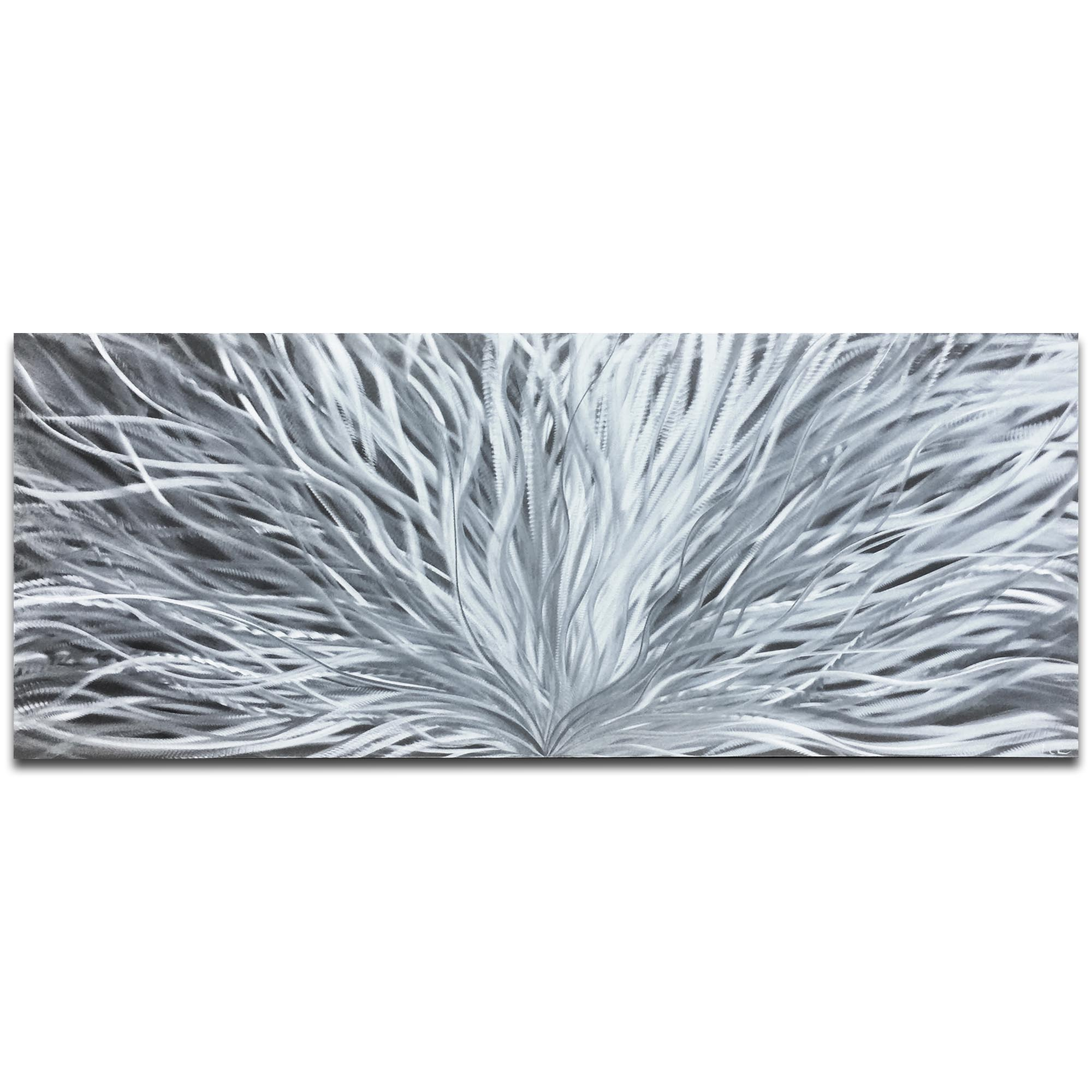 Helena Martin 'Blooming Silver' 60in x 24in Original Abstract Art on Ground Metal