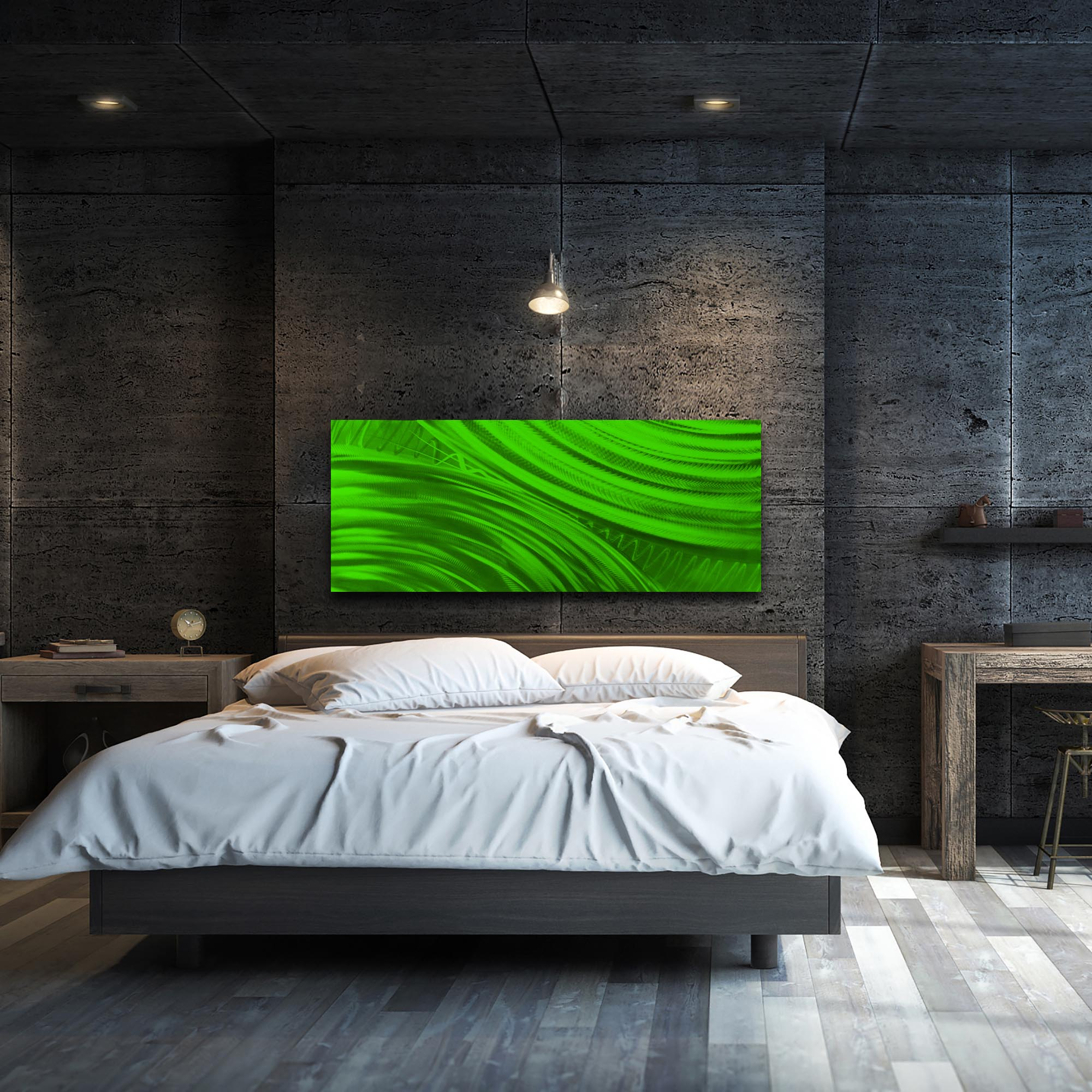 Moment of Impact Green by Helena Martin - Original Abstract Art on Ground and Painted Metal - Lifestyle View