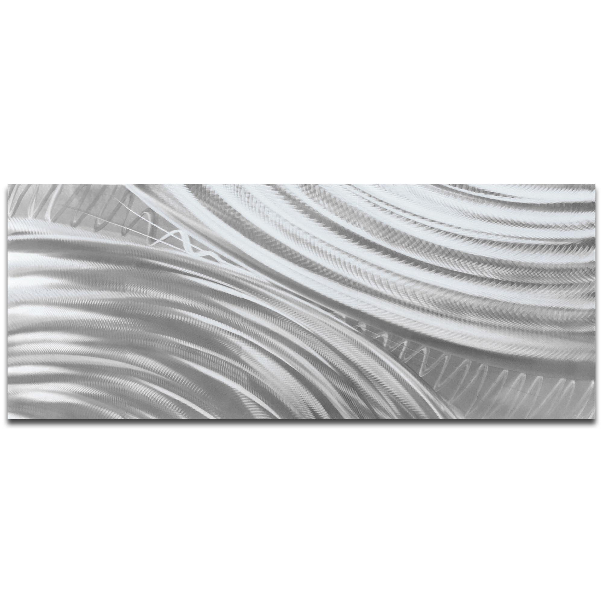 Helena Martin 'Moment of Impact Silver' 60in x 24in Original Abstract Art on Ground Metal