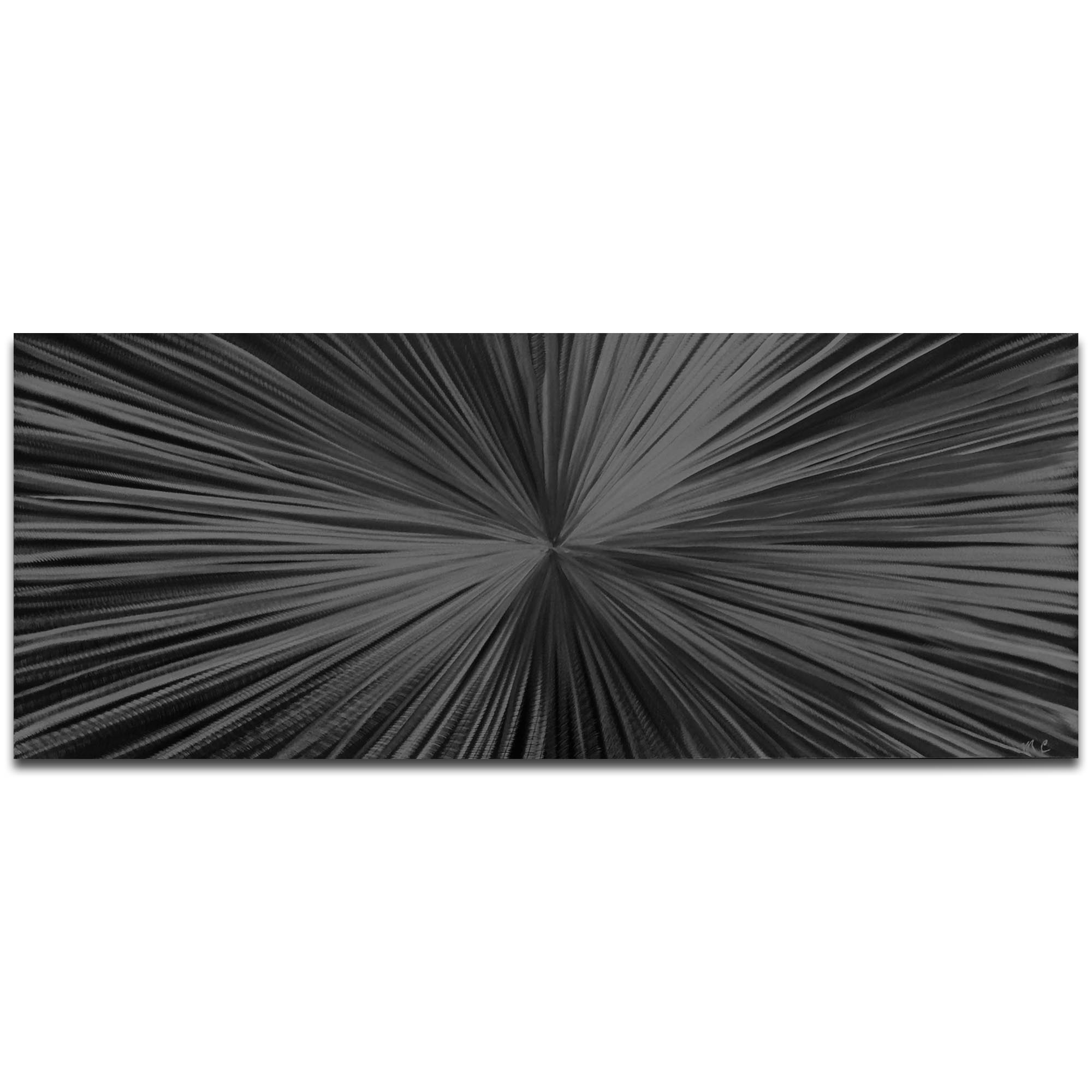 Helena Martin 'Starburst Black' 60in x 24in Original Abstract Art on Ground and Painted Metal
