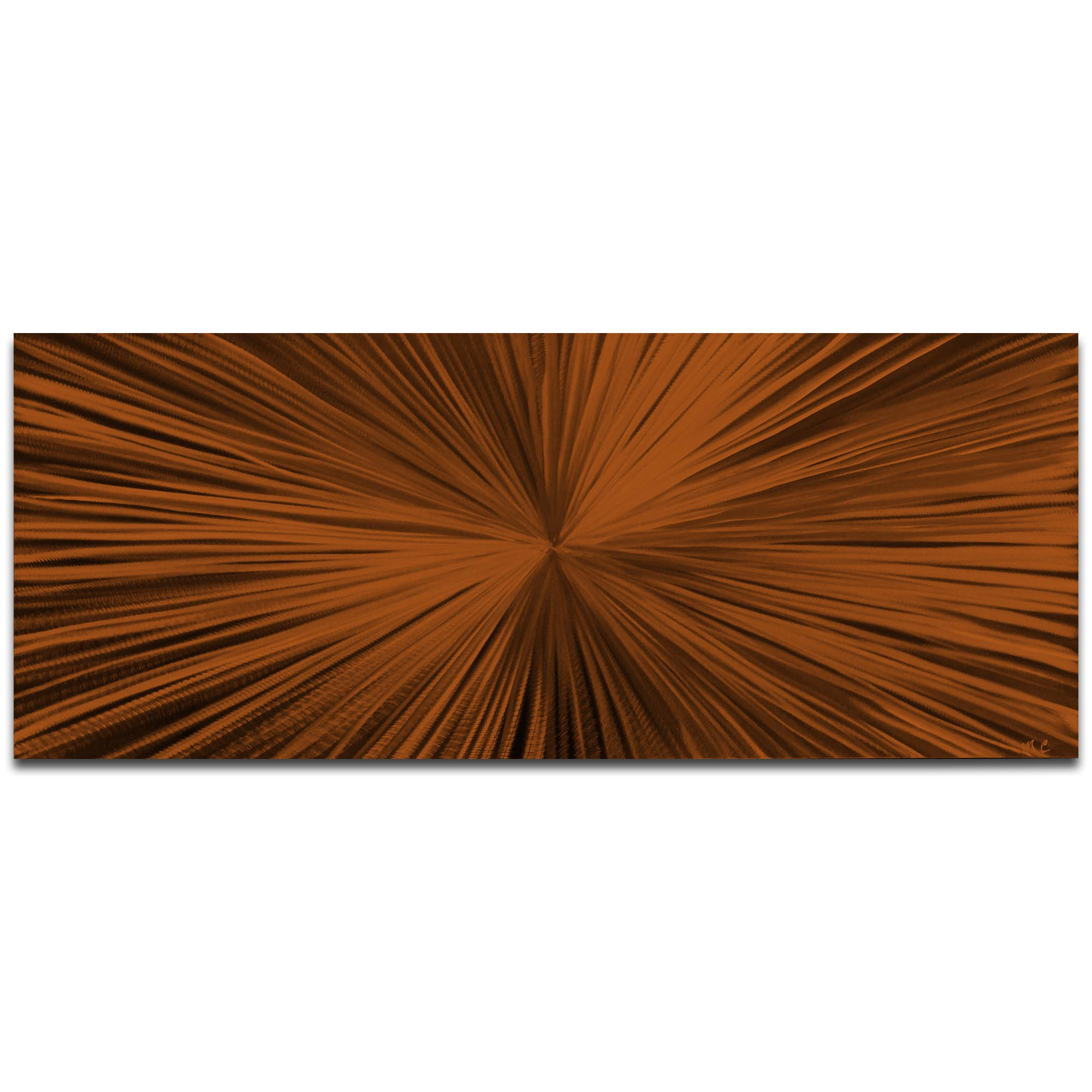 Helena Martin 'Starburst Brown' 60in x 24in Original Abstract Art on Ground and Painted Metal