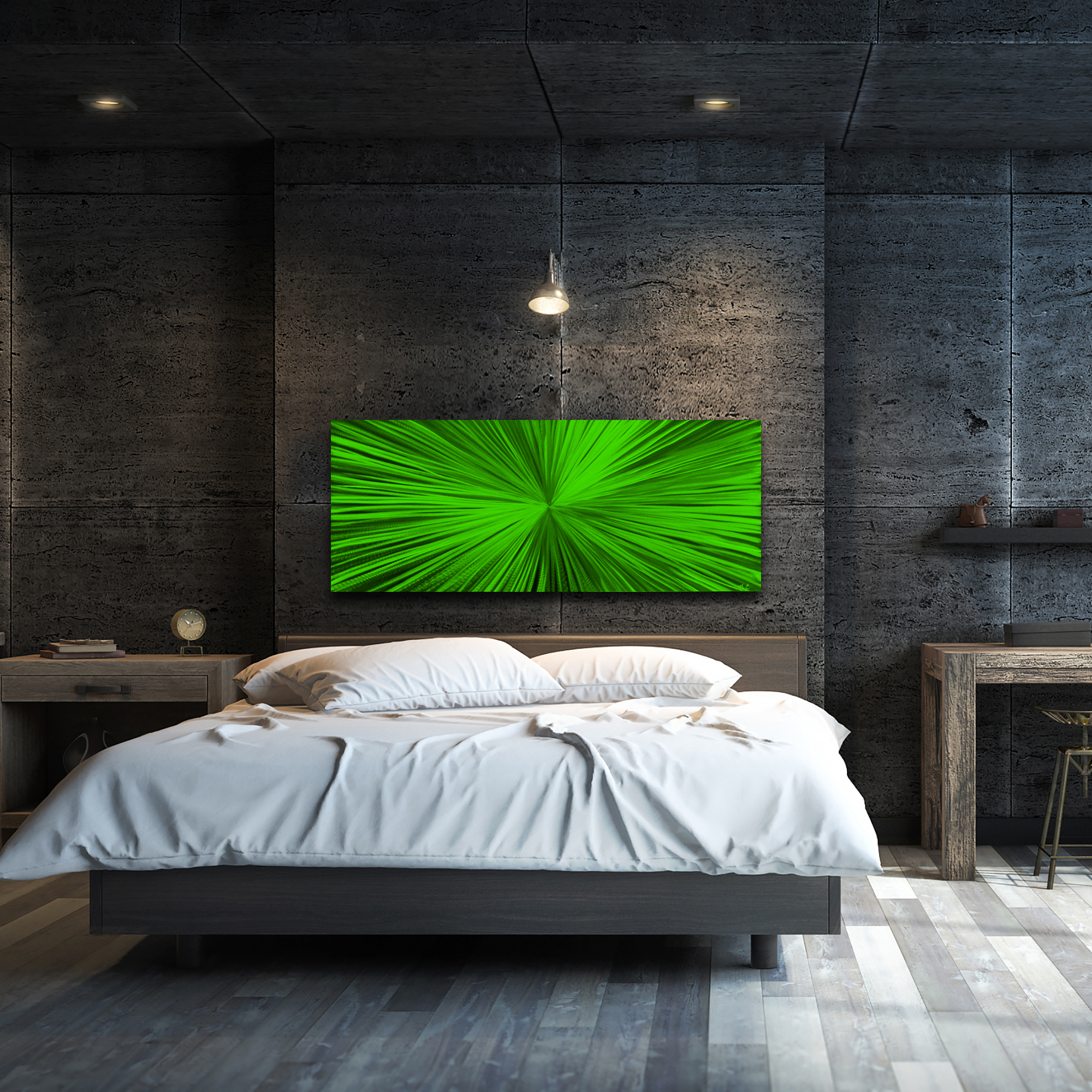 Starburst Green by Helena Martin - Original Abstract Art on Ground and Painted Metal - Lifestyle View