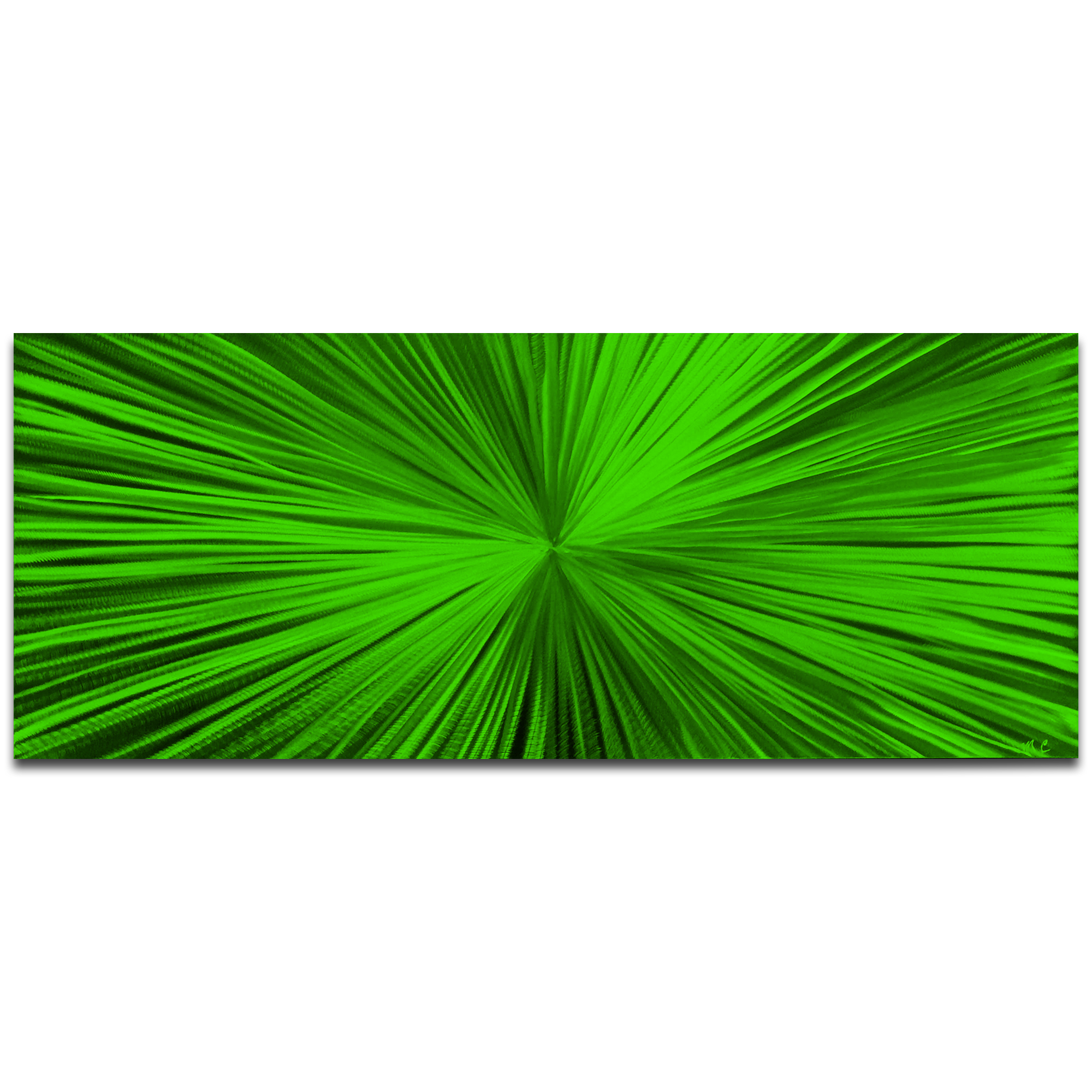 Helena Martin 'Starburst Green' 60in x 24in Original Abstract Art on Ground and Painted Metal