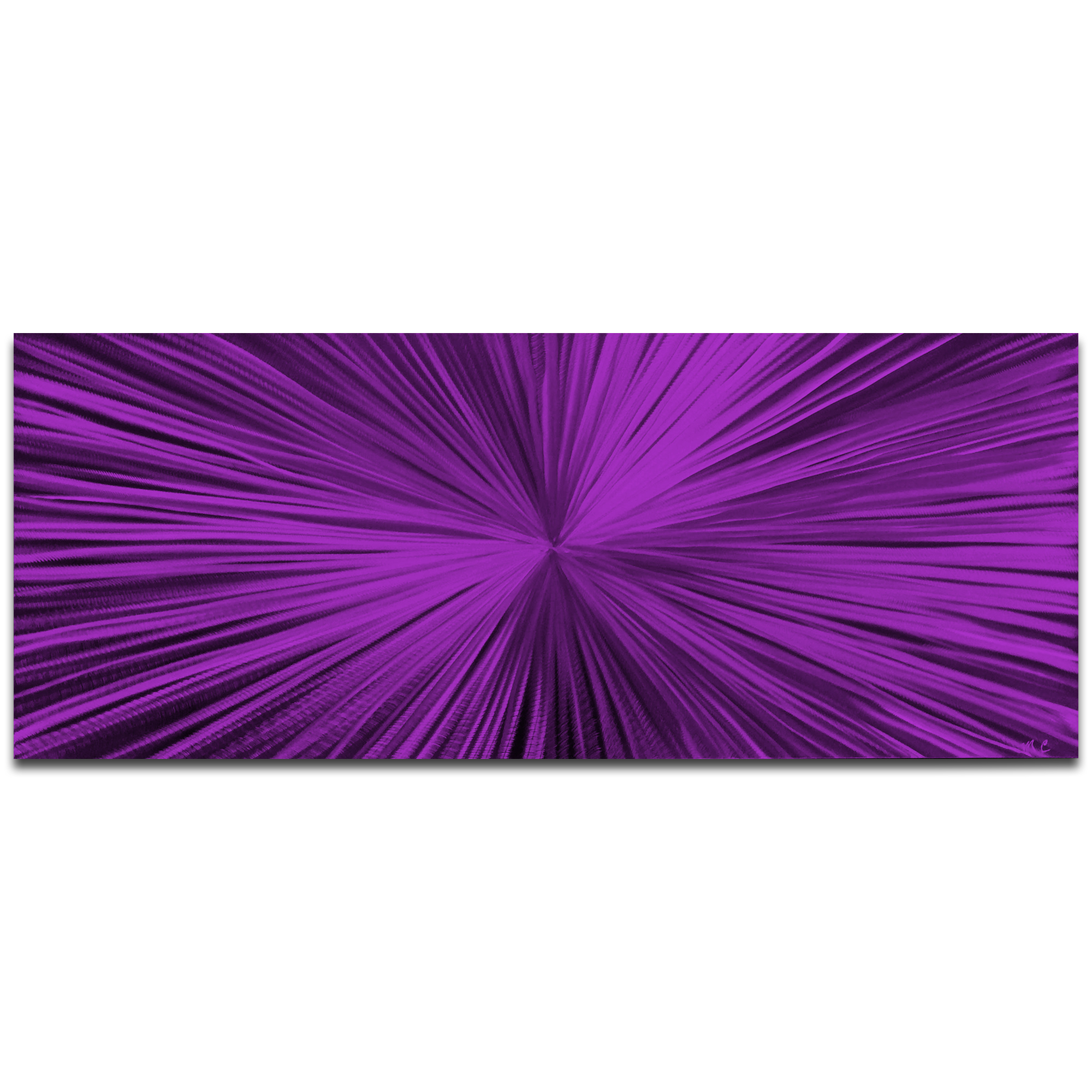 Helena Martin 'Starburst Purple' 60in x 24in Original Abstract Art on Ground and Painted Metal