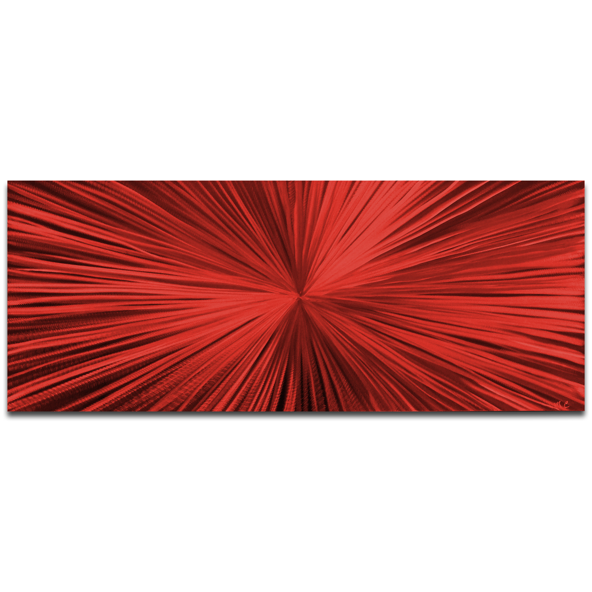 Helena Martin 'Starburst Red' 60in x 24in Original Abstract Art on Ground and Painted Metal