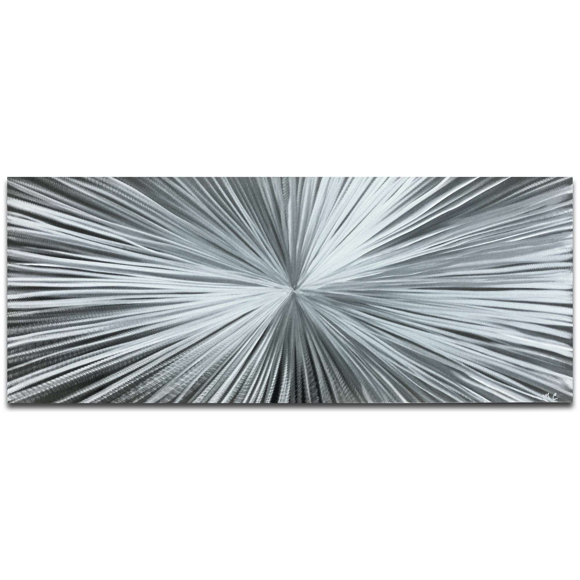 Helena Martin 'Starburst Silver' 60in x 24in Original Abstract Art on Ground Metal