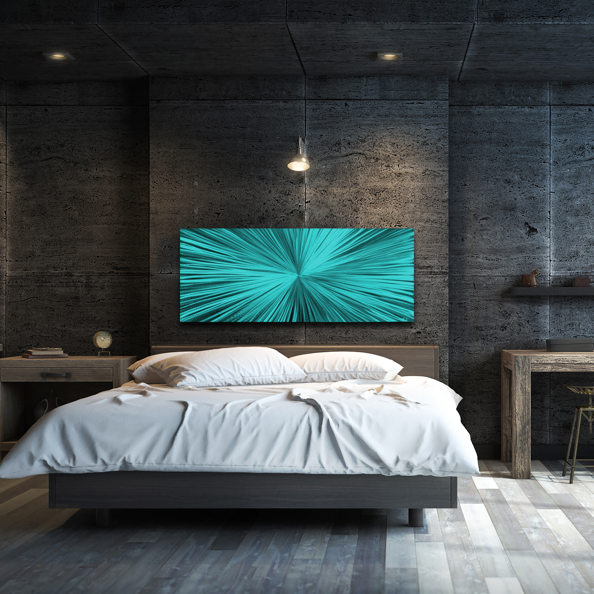 Starburst Teal by Helena Martin - Original Abstract Art on Ground and Painted Metal - Lifestyle View