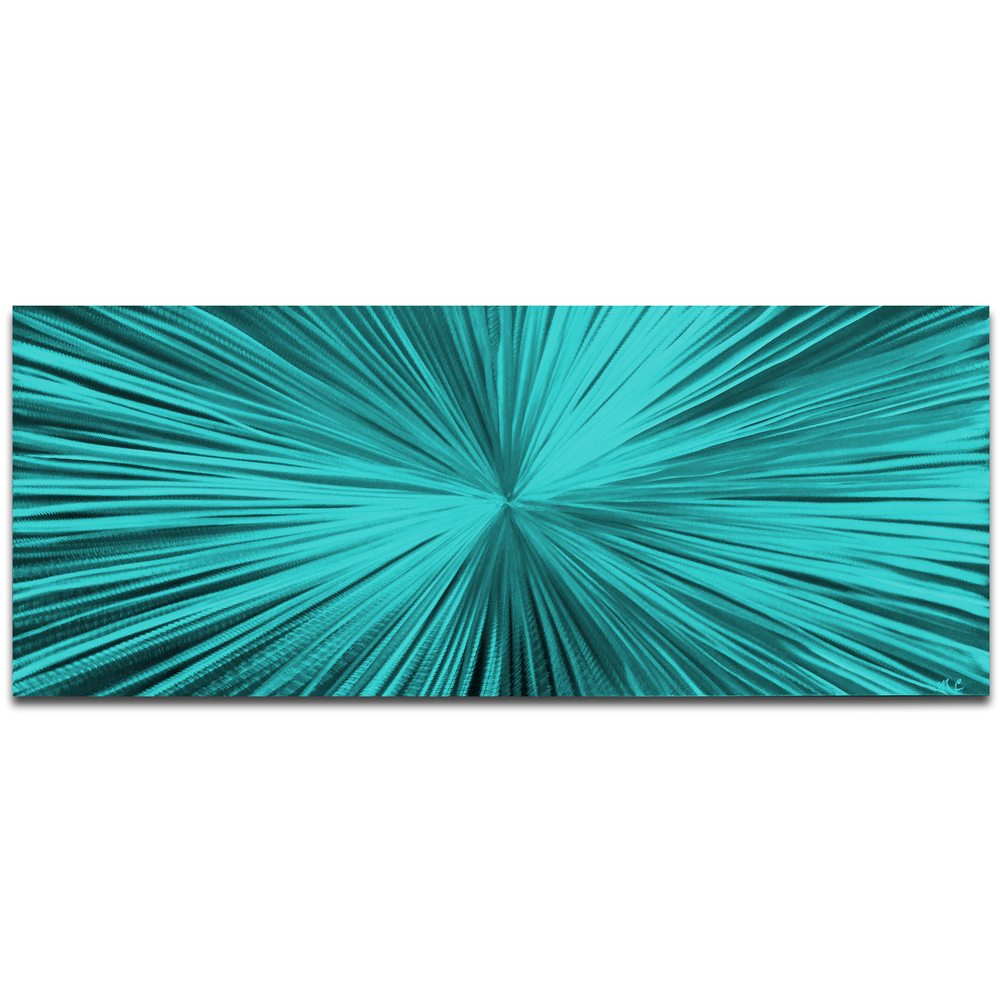 Helena Martin 'Starburst Teal' 60in x 24in Original Abstract Art on Ground and Painted Metal