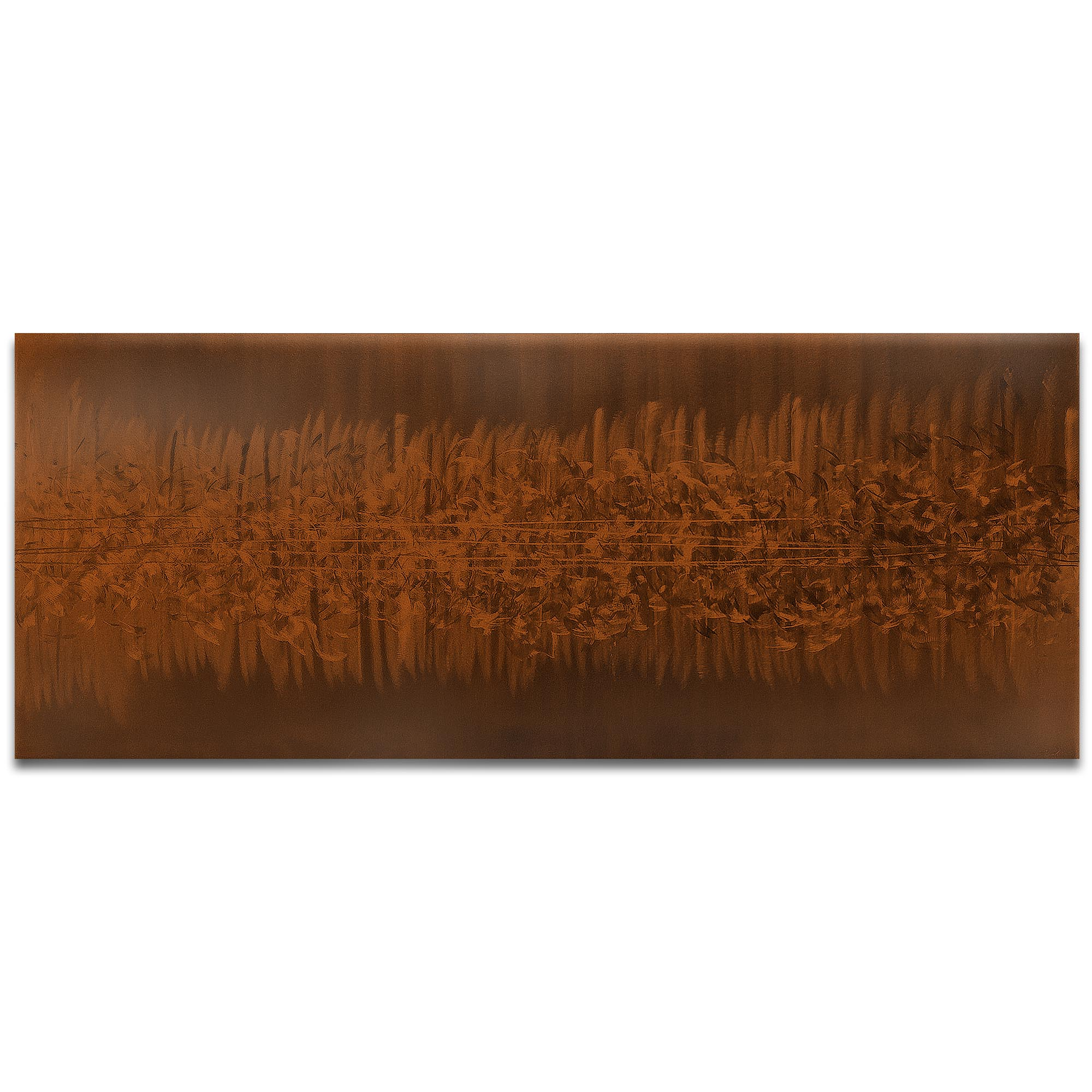 Helena Martin 'Static Brown' 60in x 24in Original Abstract Art on Ground and Painted Metal
