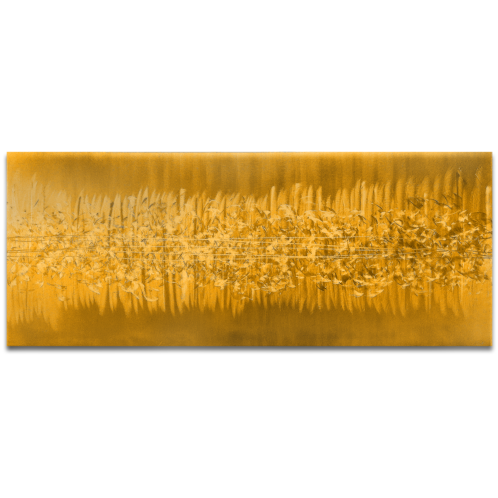 Helena Martin 'Static Gold' 60in x 24in Original Abstract Art on Ground and Painted Metal