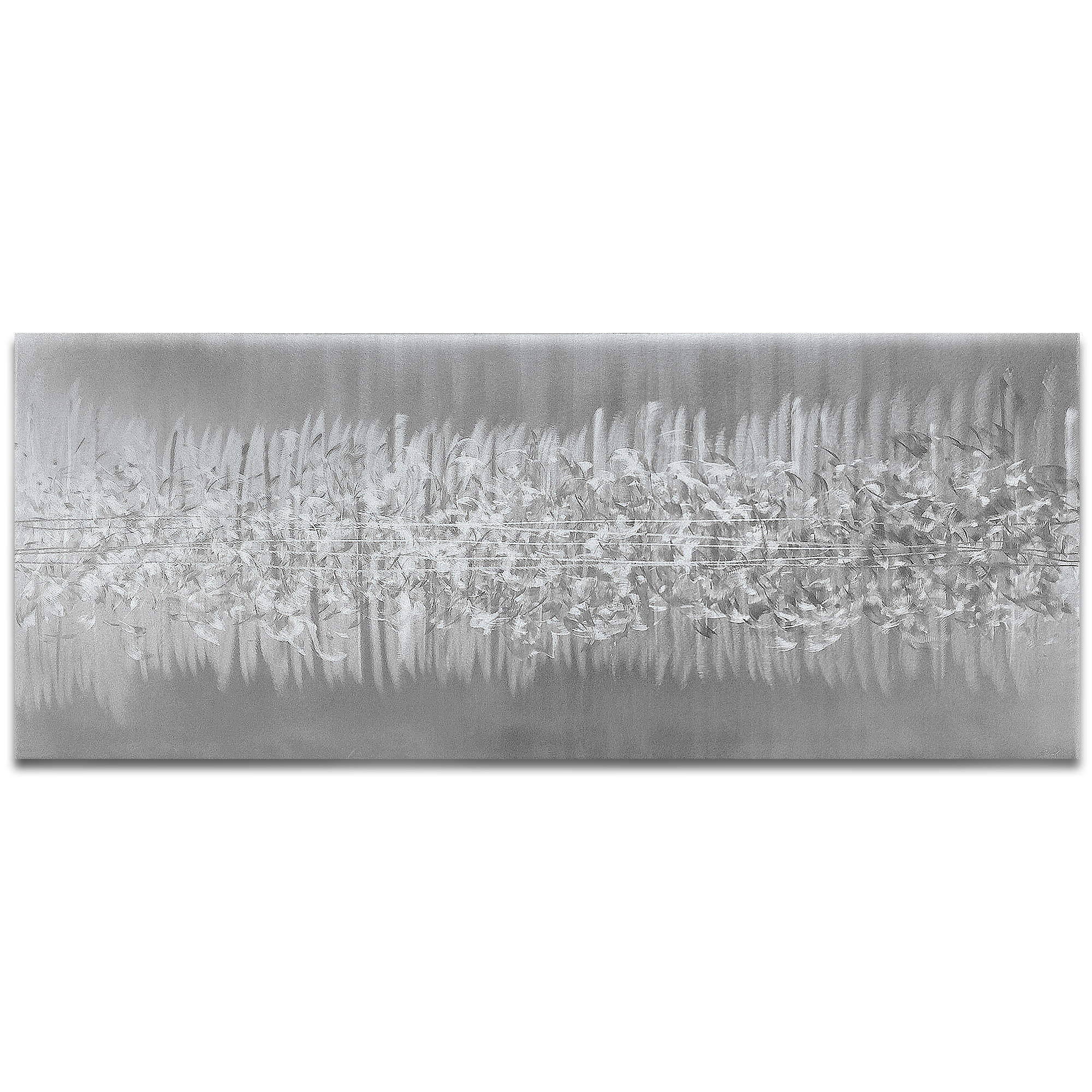 Helena Martin 'Static Silver' 60in x 24in Original Abstract Art on Ground Metal