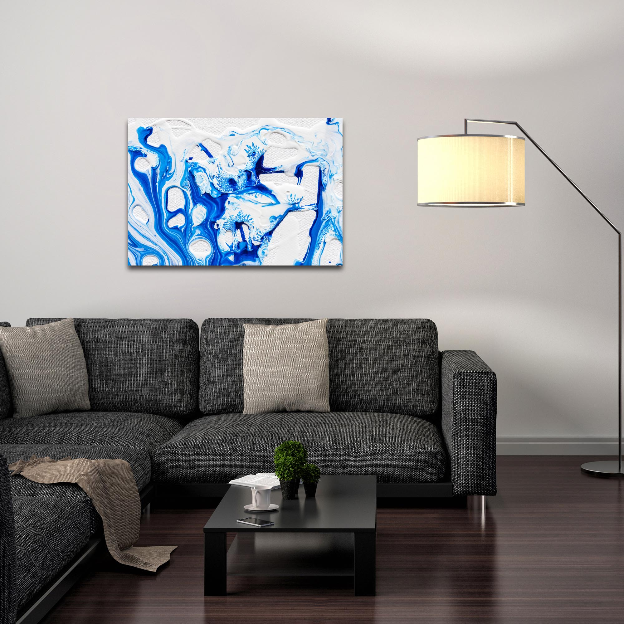 Abstract Wall Art 'Coastal Waters 3' - Colorful Urban Decor on Metal or Plexiglass - Lifestyle View
