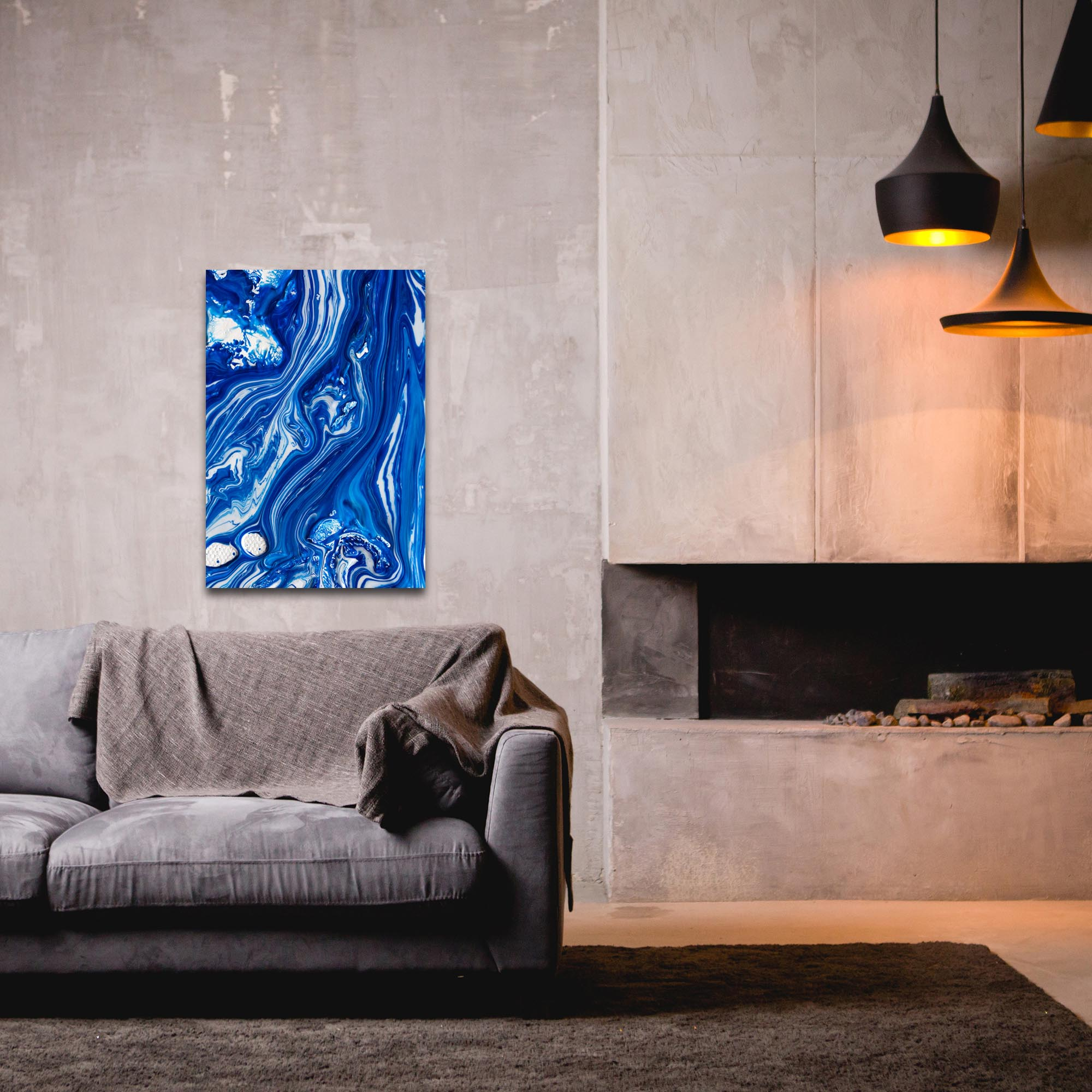 Abstract Wall Art 'Coastal Waters 6' - Colorful Urban Decor on Metal or Plexiglass - Lifestyle View