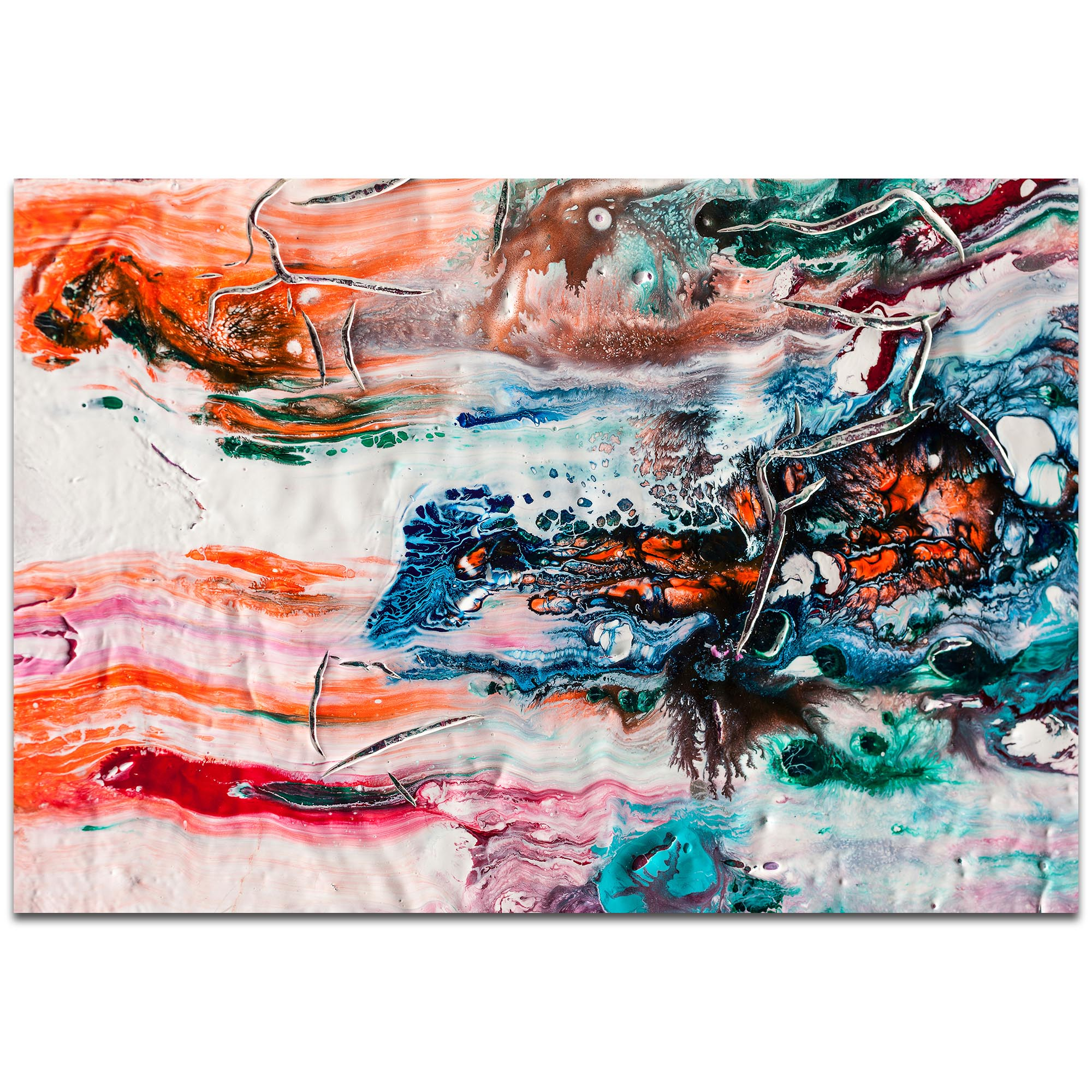 Abstract Wall Art 'Sunset on Her Breath 1' - Colorful Urban Decor on Metal or Plexiglass