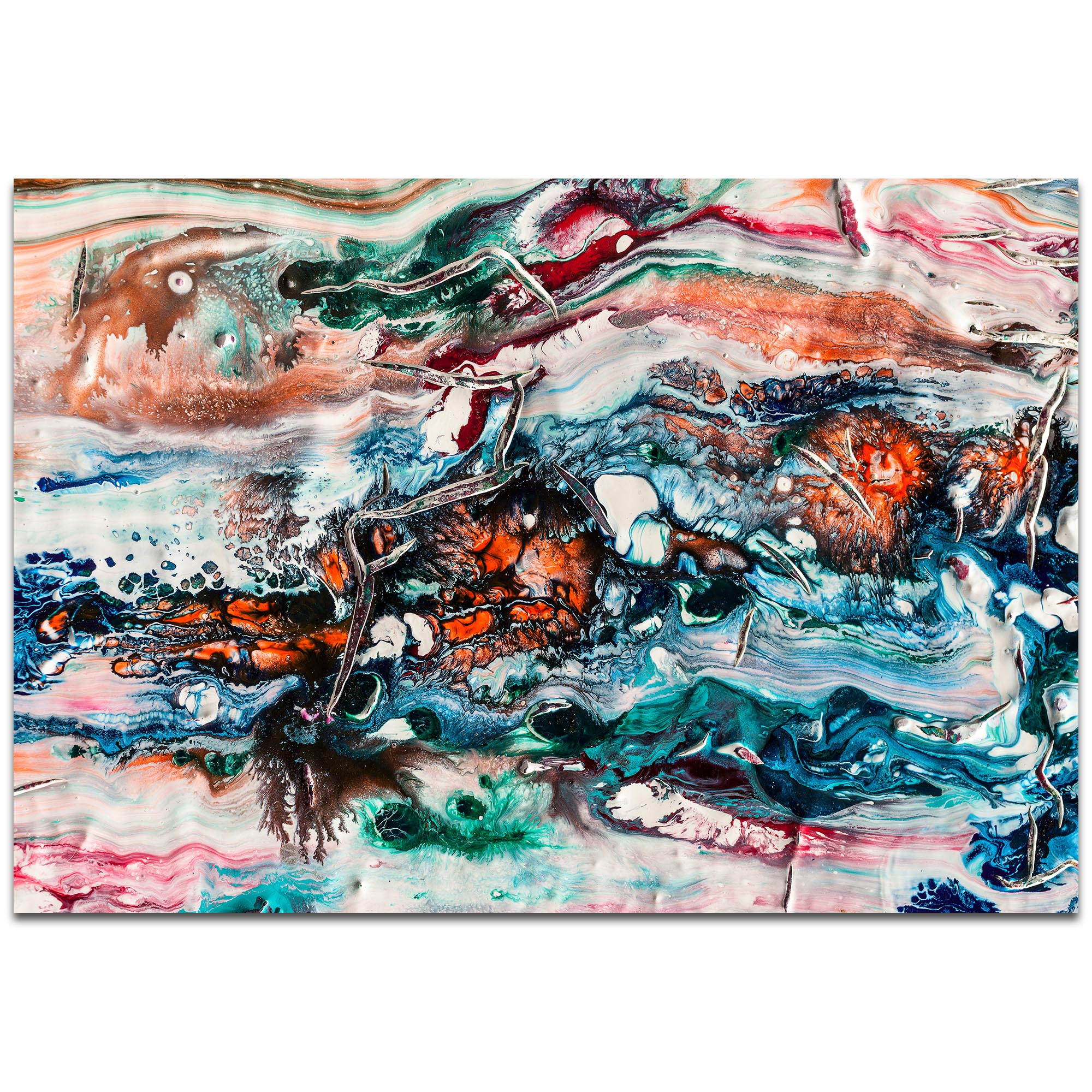 Abstract Wall Art 'Sunset On Her Breath 2' - Colorful Urban Decor on Metal or Plexiglass