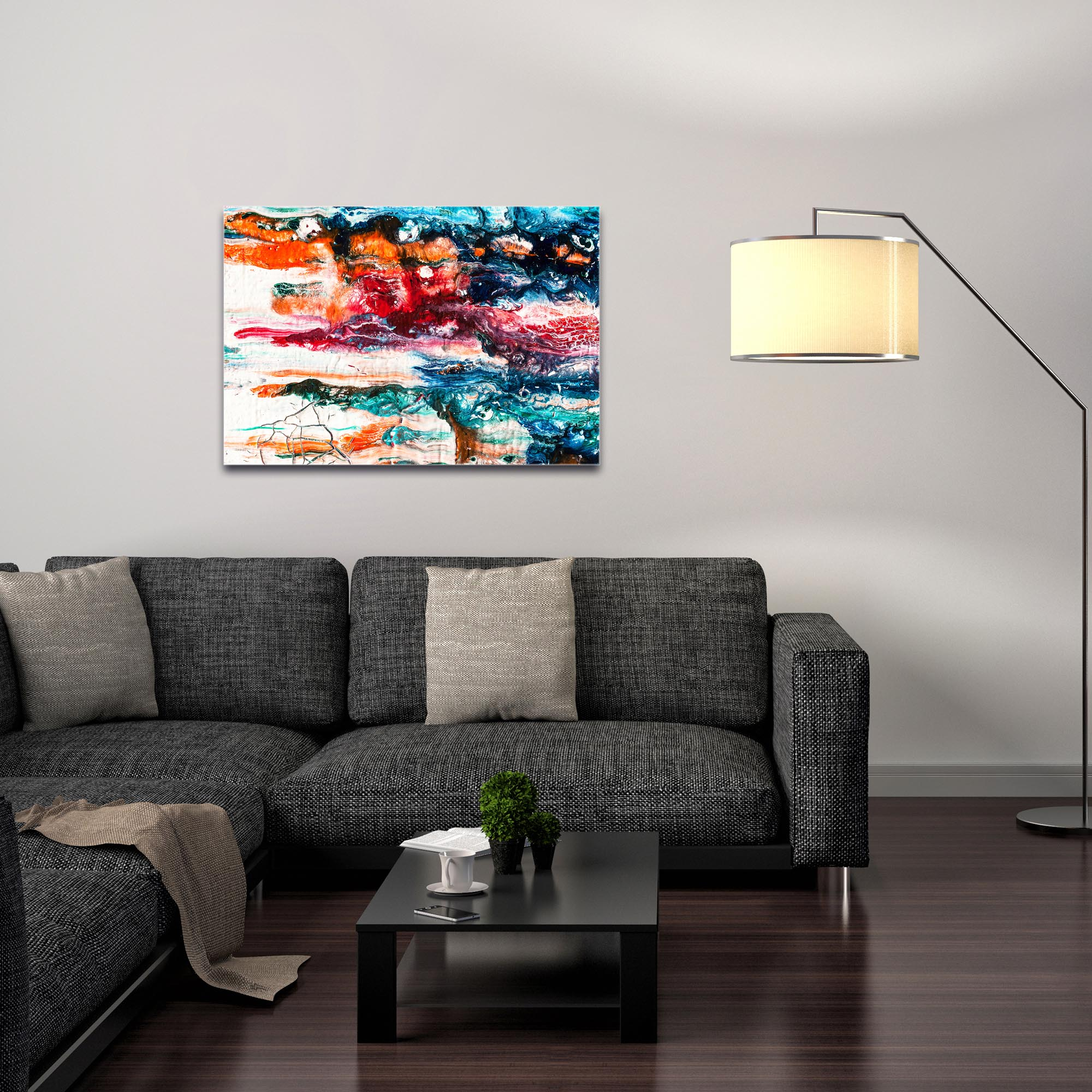 Abstract Wall Art 'Sunset On Her Breath 3' - Colorful Urban Decor on Metal or Plexiglass - Image 3