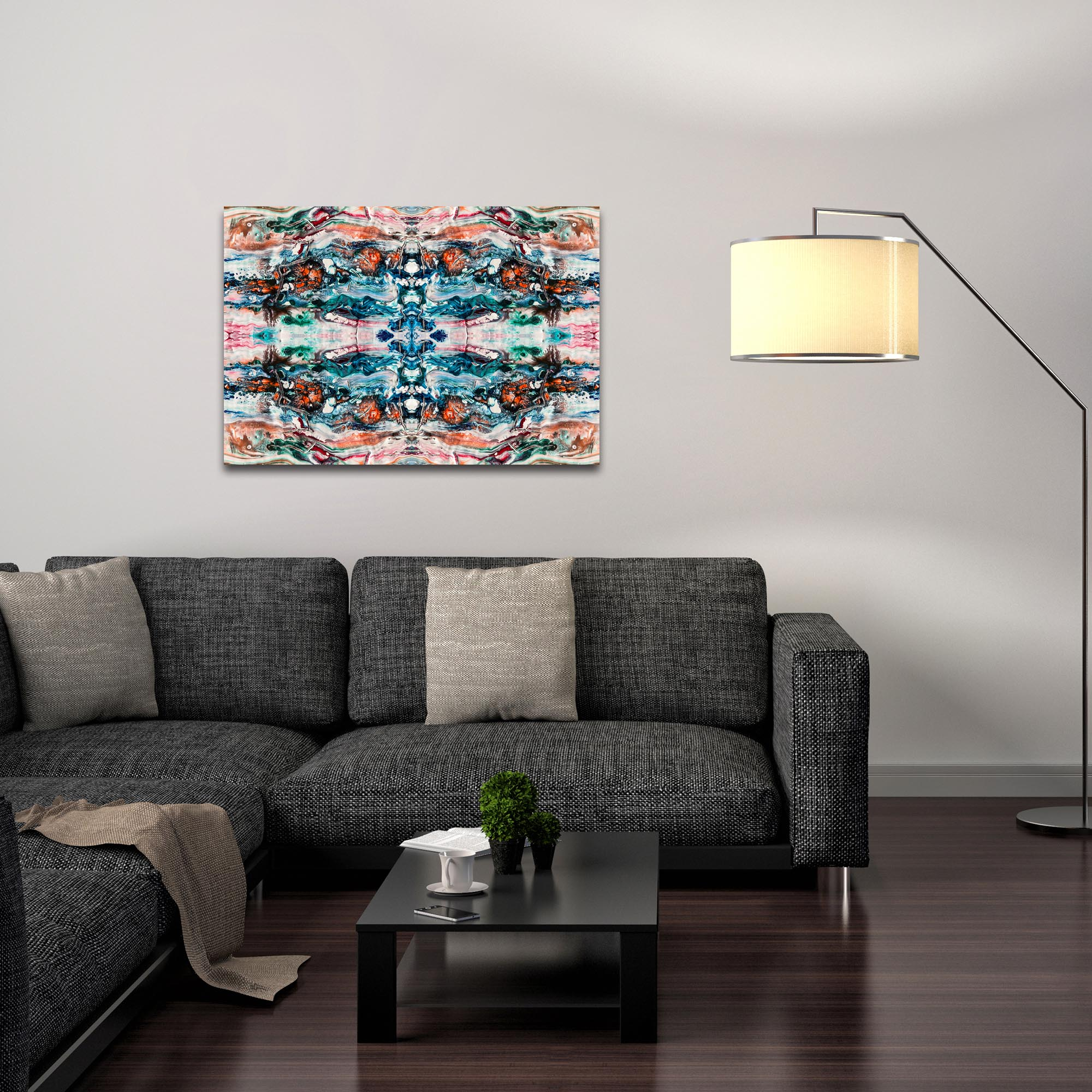 Abstract Wall Art 'Sunset On Her Breath 7 Quad' - Colorful Urban Decor on Metal or Plexiglass - Lifestyle View