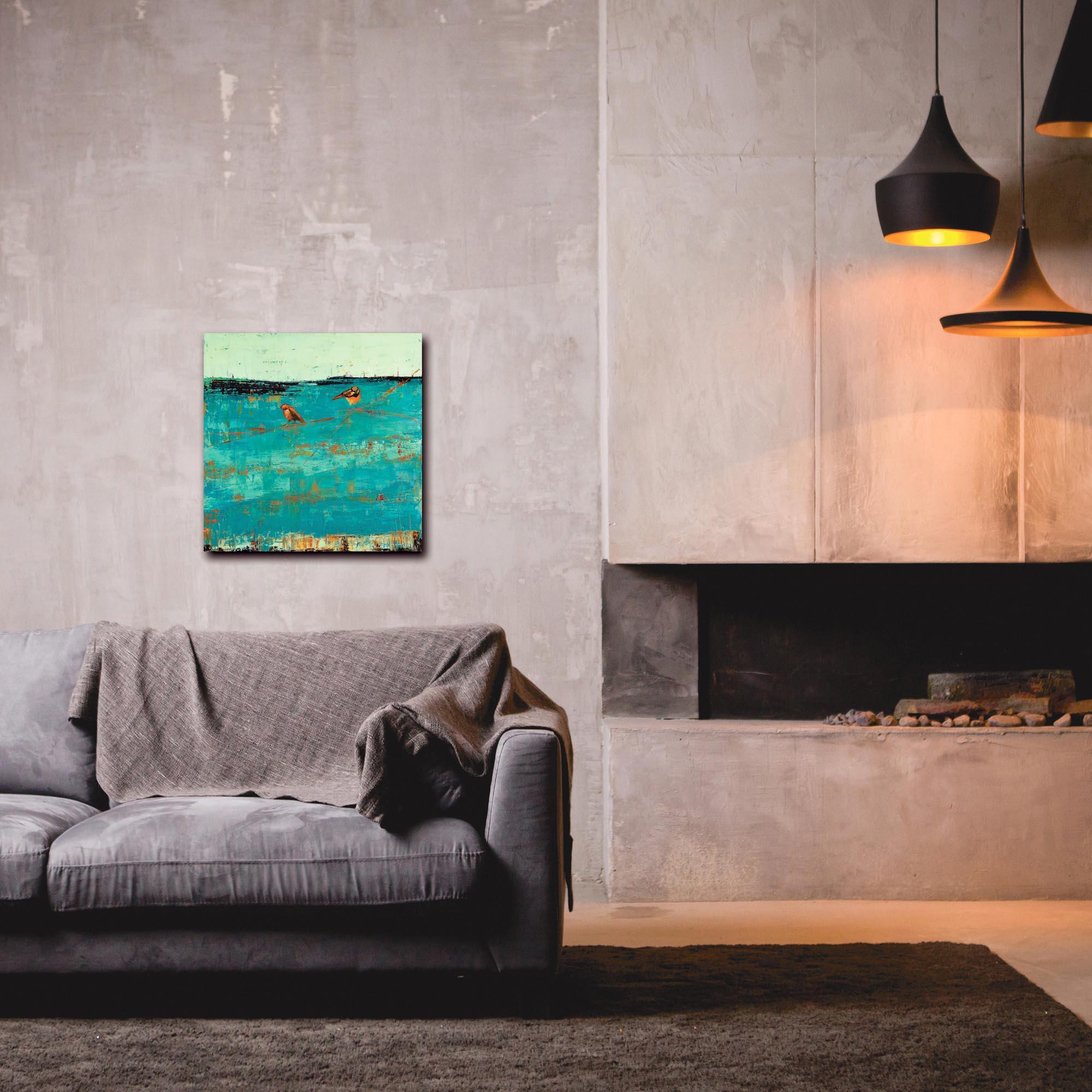 Contemporary Wall Art 'Two Chickadees on a Blue Horizon' - Urban Birds Decor on Metal or Plexiglass - Lifestyle View