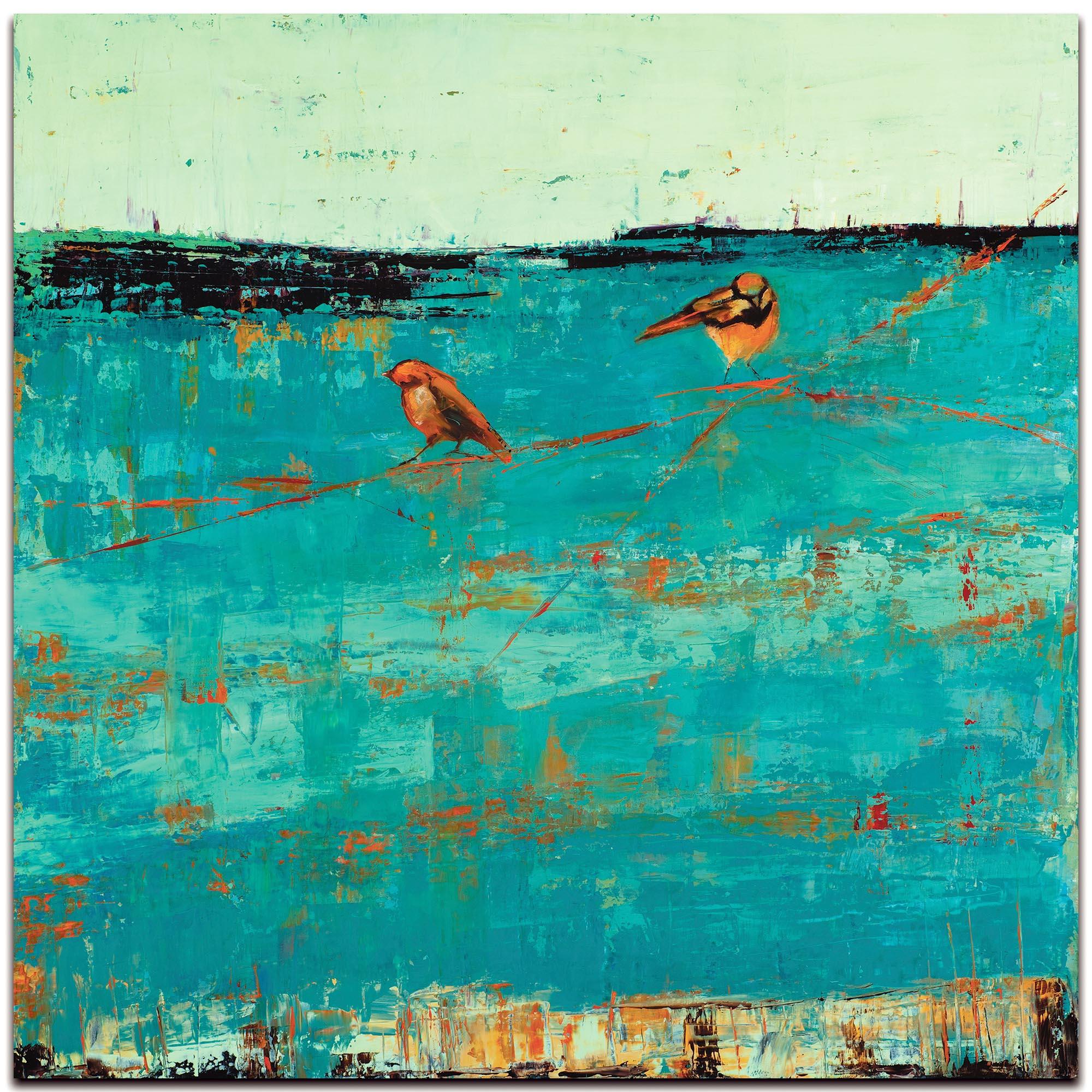 Contemporary Wall Art 'Two Chickadees on a Blue Horizon' - Urban Birds Decor on Metal or Plexiglass