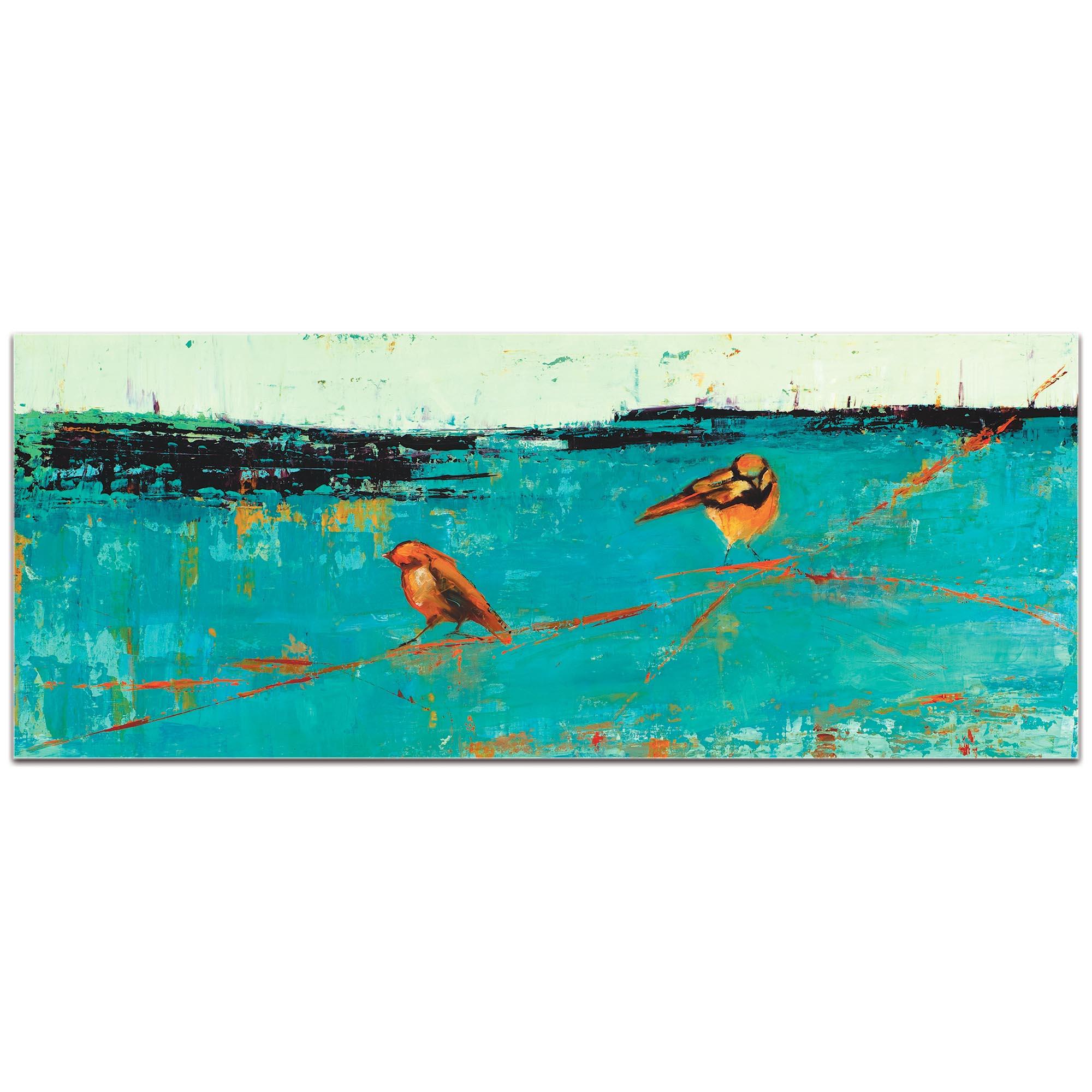 Contemporary Wall Art 'Two Chickadees on a Blue Horizon v2' - Urban Birds Decor on Metal or Plexiglass - Image 2